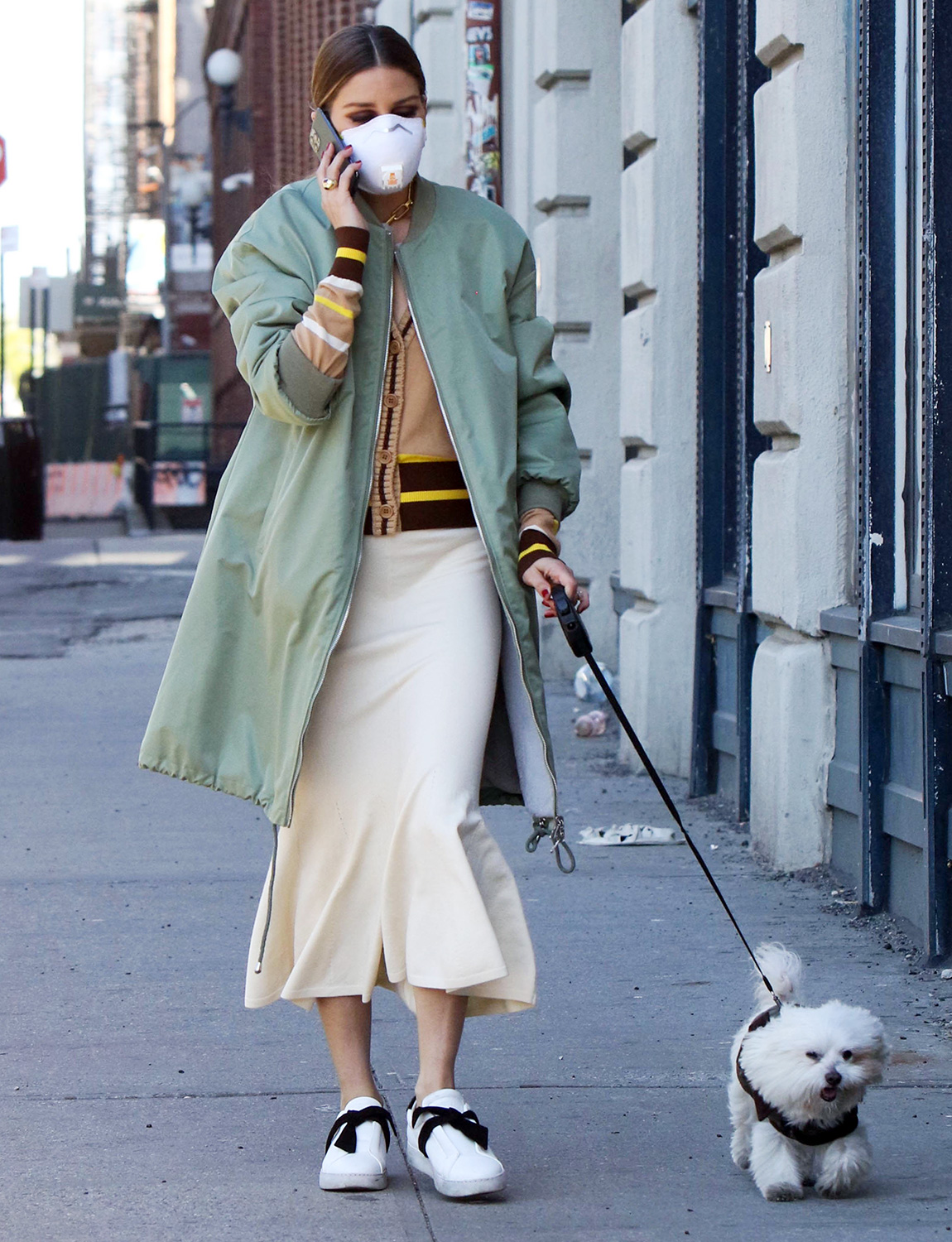 Olivia Palermo walks her dog on May 05, 2020 in New York City
