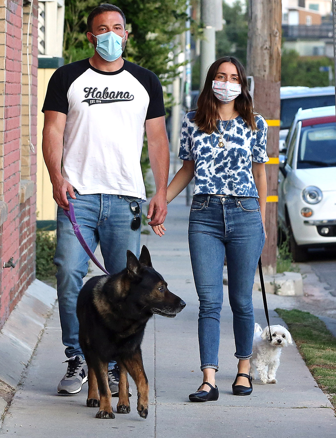 Ben Affleck and Ana de Armas take his dogs for a walk in LA