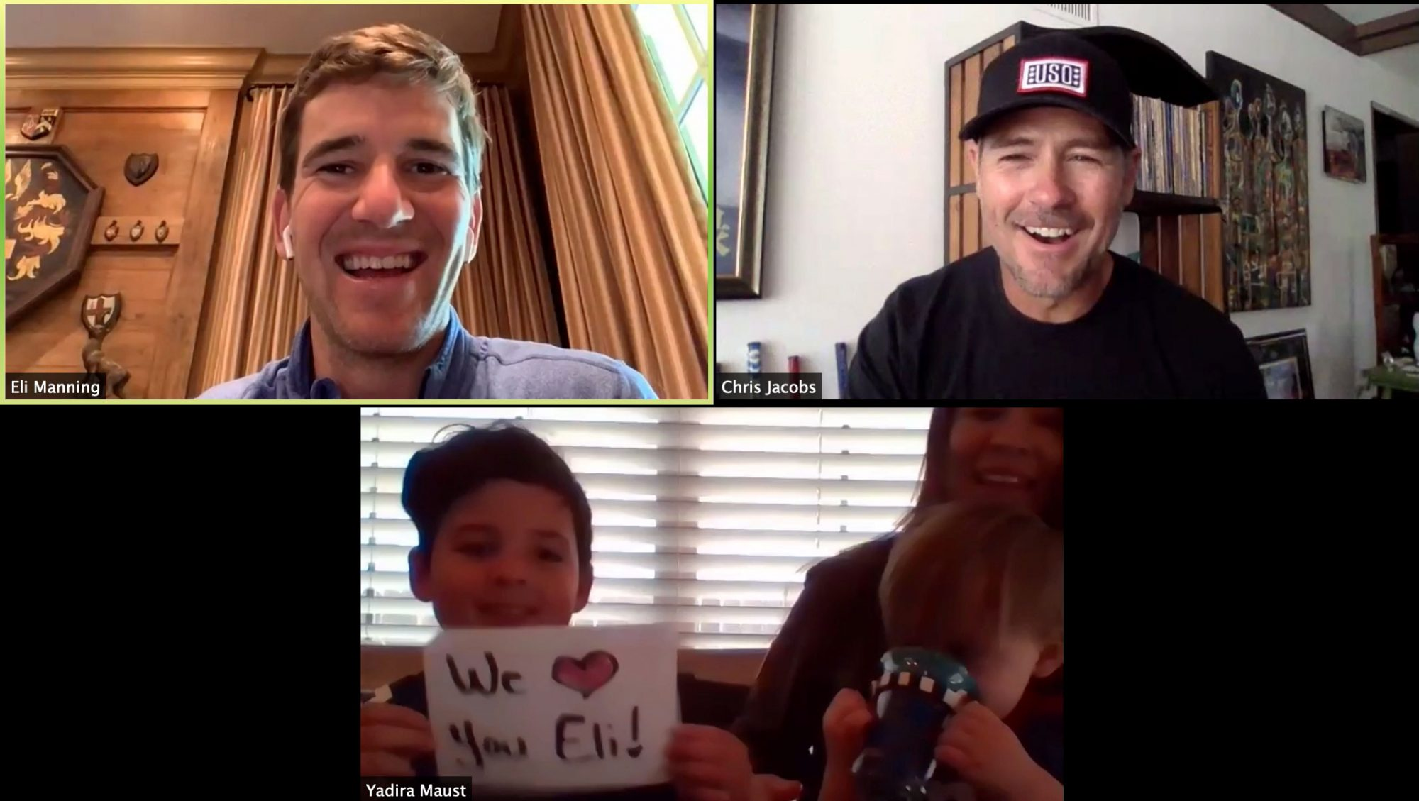 Eli Manning on USO call with service members