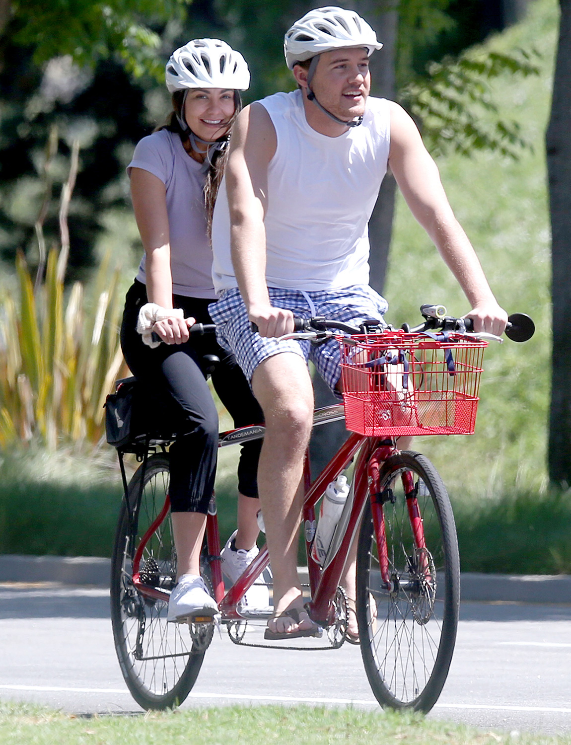 Bachelor Peter Weber Rides A Tandem Bike With His Co-pilot Kelley Flanagan In Los Angeles, California