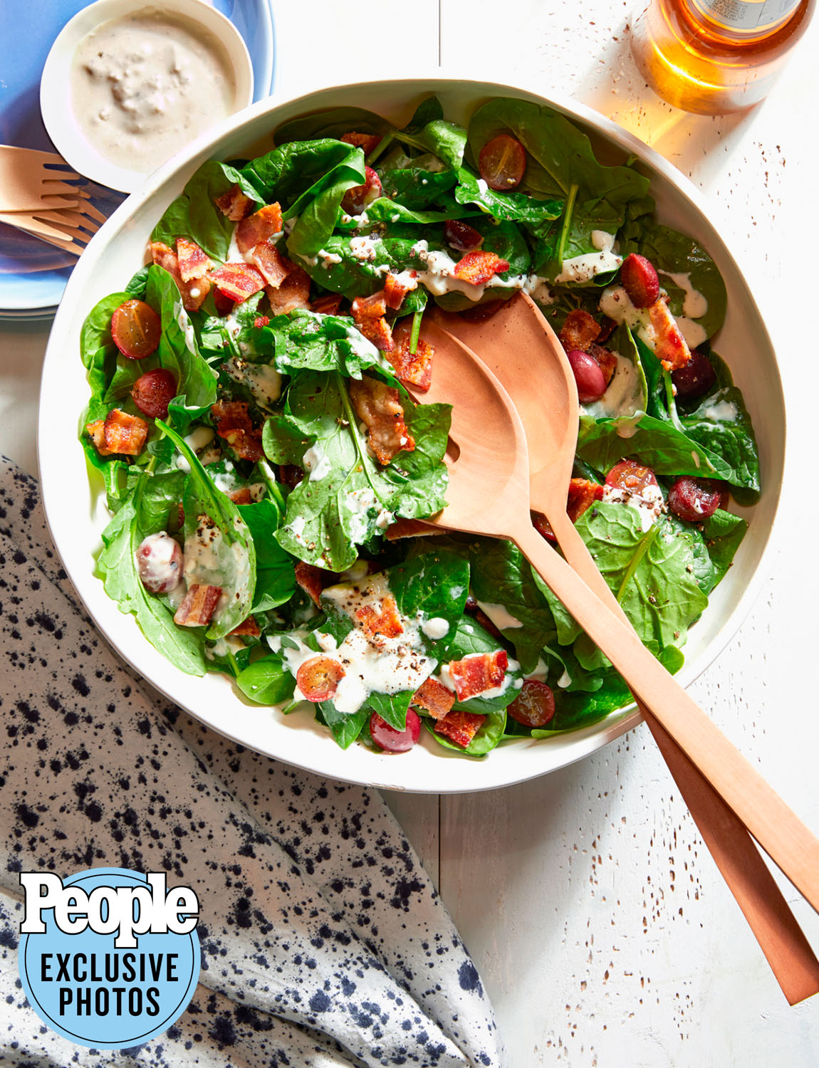 Melissa Clark's Spinach & Grape Salad with Blue Cheese Dressing