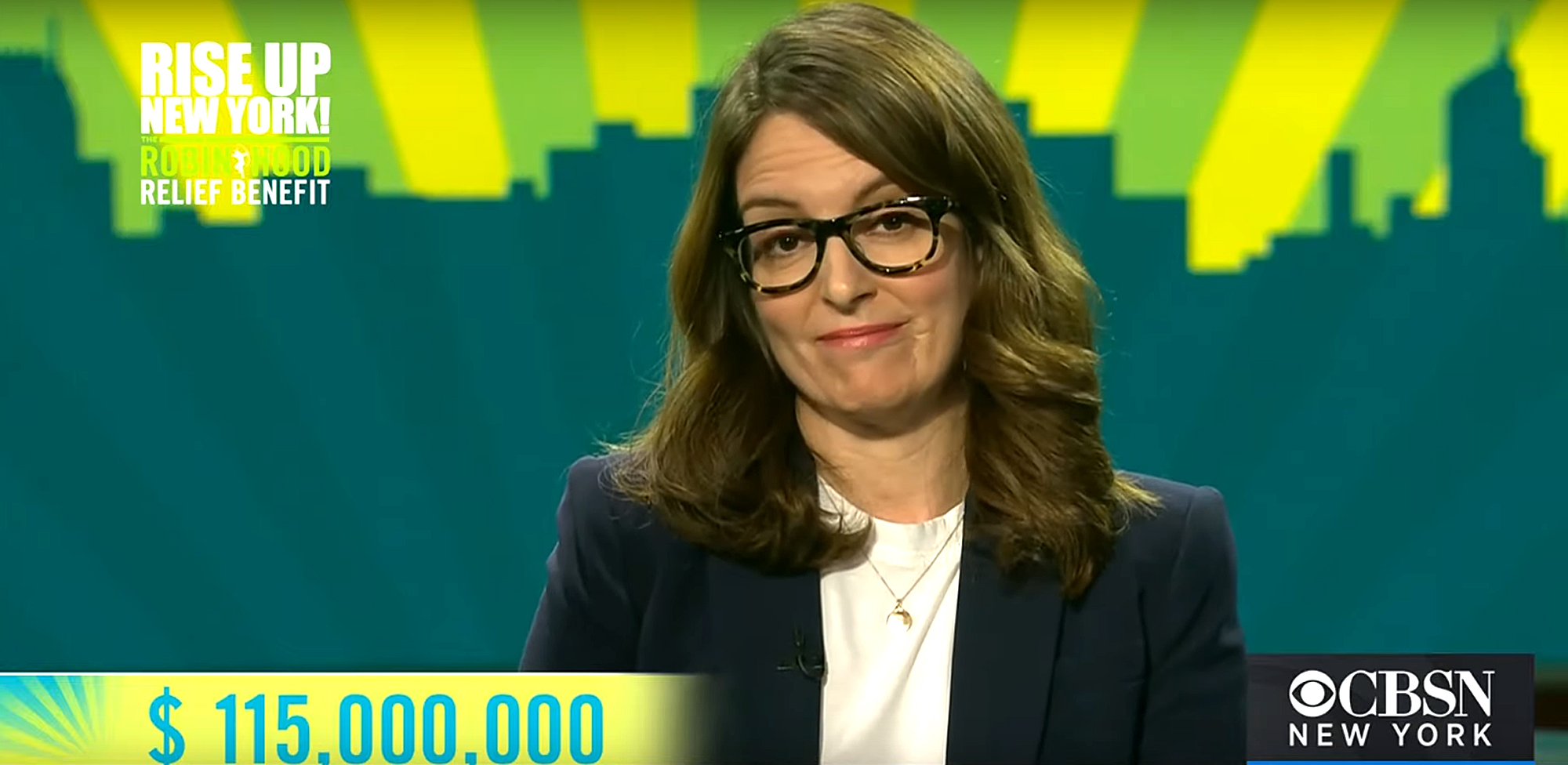 "$115 million raised during ""Rise Up New York!"" telethon hosted by Tina Fey"