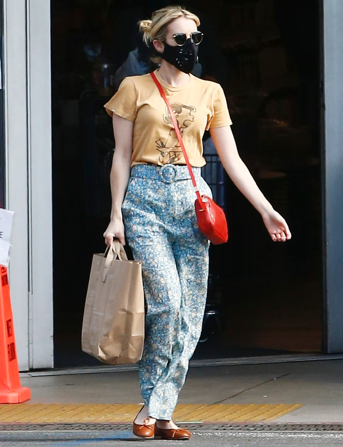 Emma Roberts taps into her inner Lucy from the peanuts gang t-shirt in Los Angeles Ca