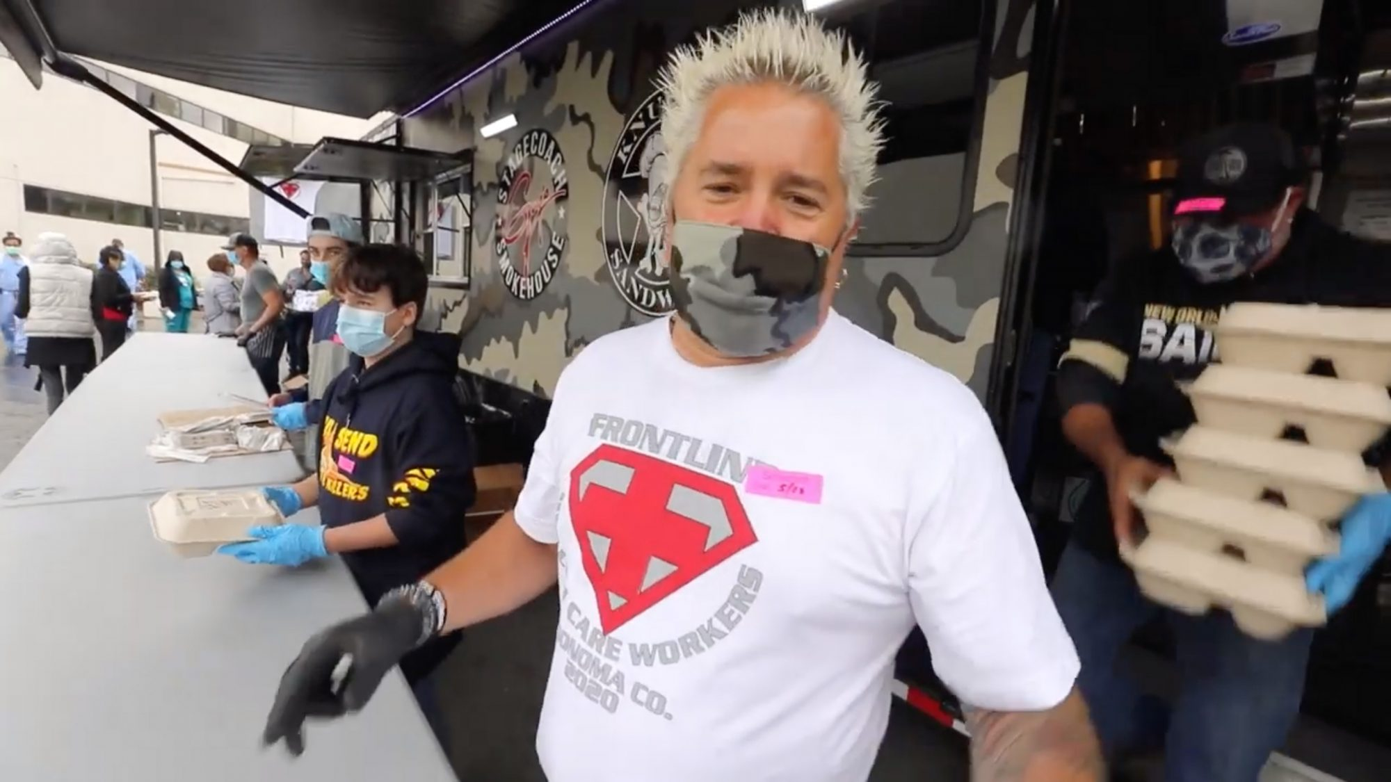 Celebrity chef Guy Fieri feeds 1,200 first responders and hospital workers in Santa Rosa