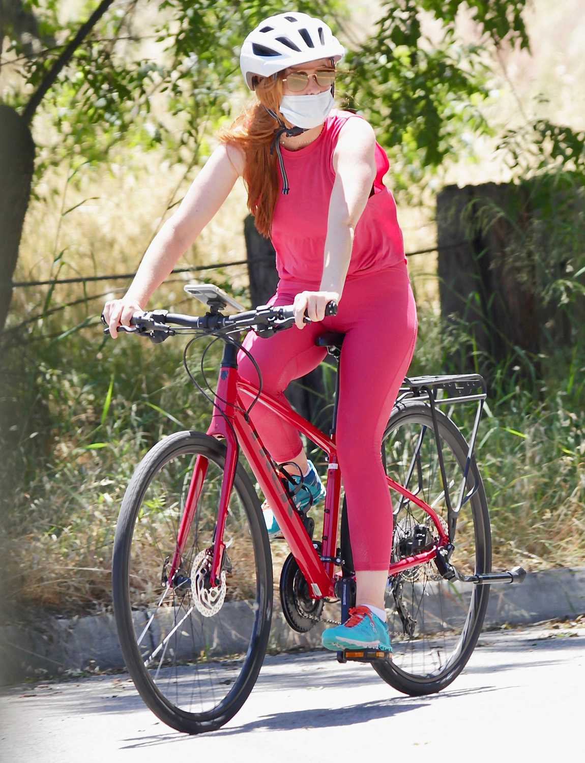 Isla Fisher is Pictured on a Bicycle Ride in Los Angeles.