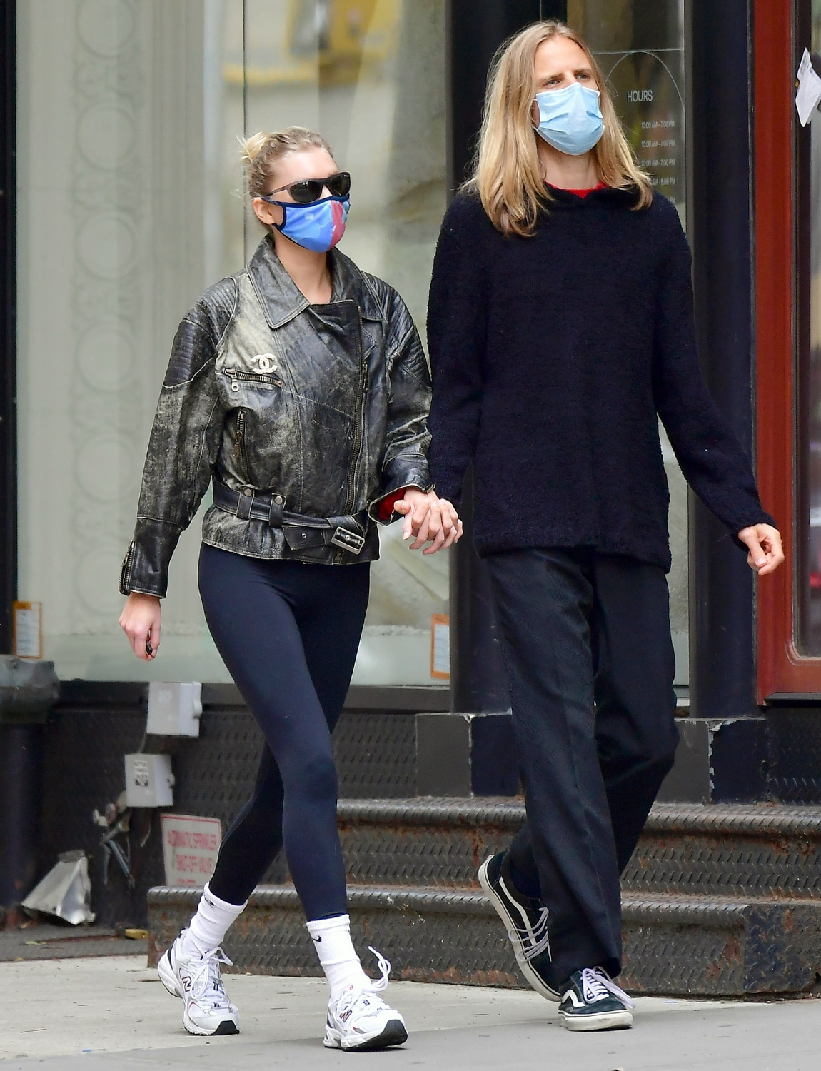 Elsa Hosk wears a Chanel leather jacket while out with Tom Daly