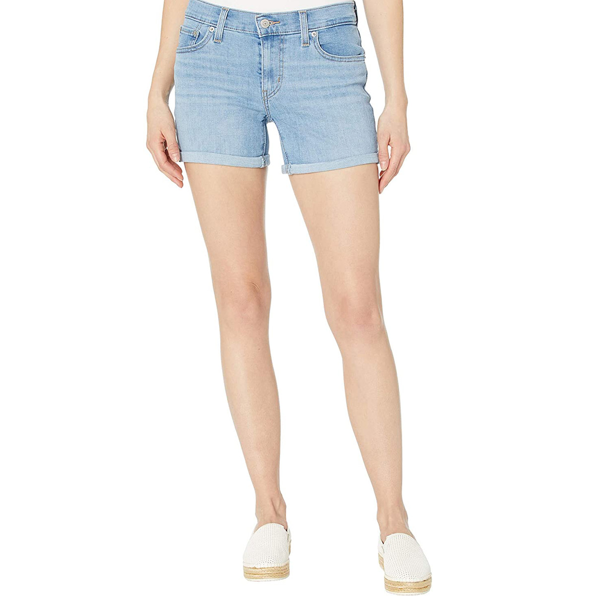 levi's mid length denim shorts amazon sale