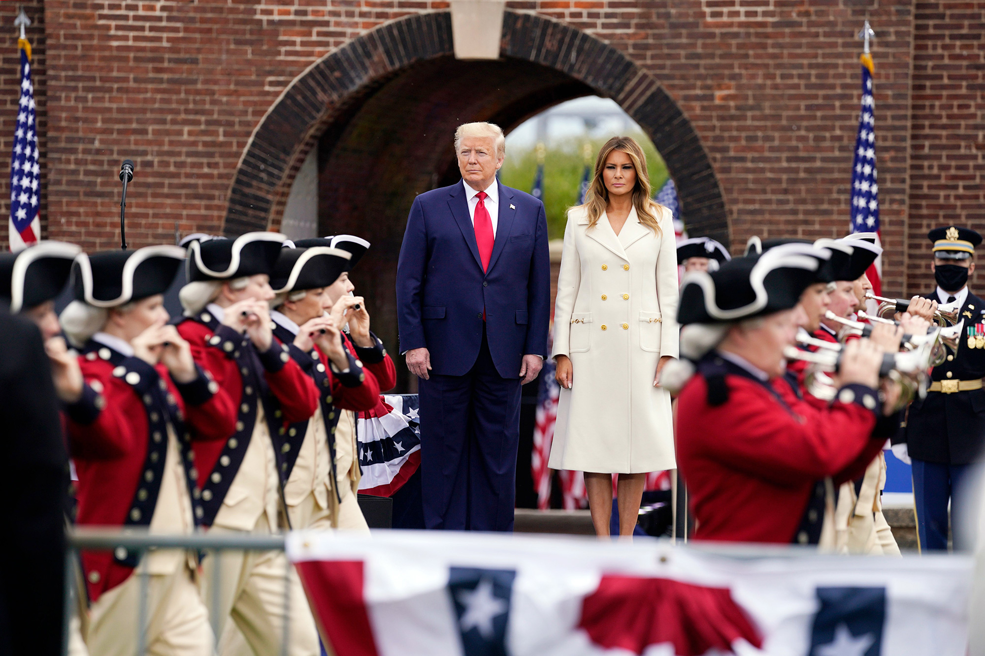 President Donald Trump and first lady Melania Trump participate in a Memorial Day ceremony at Fort McHenry National Monument and Historic Shrine, in Baltimore Virus Outbreak Trump, Baltimore, United States - 25 May 2020