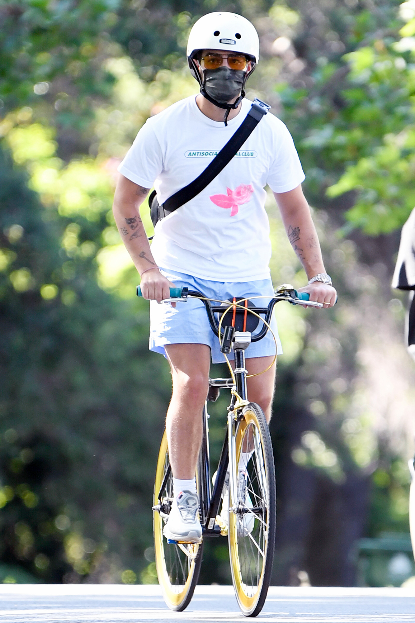 Joe Jonas is pictured out for a bike ride through his Encino, California