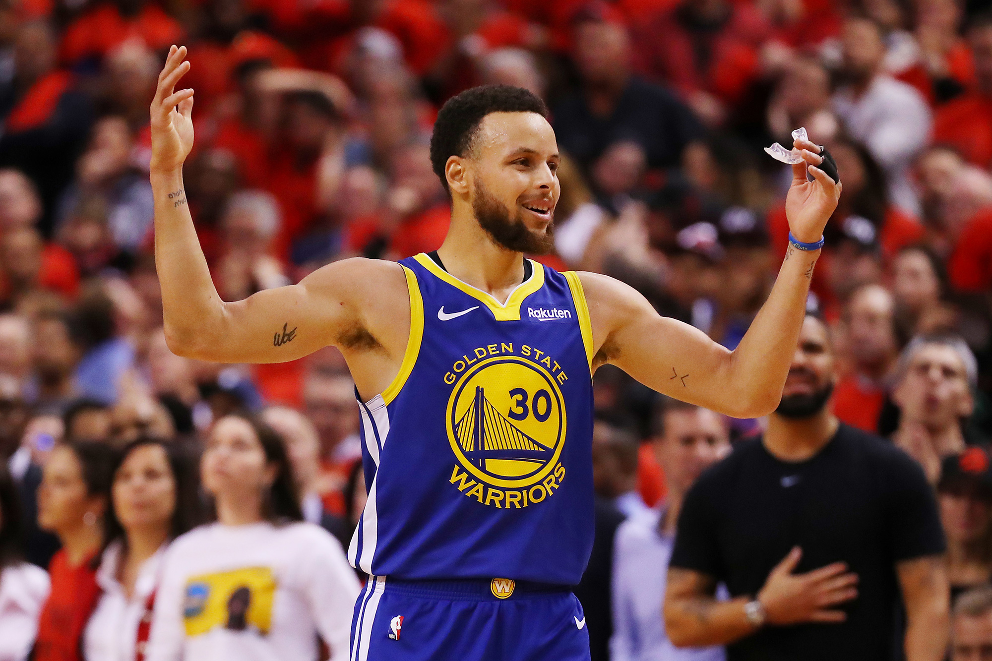 Stephen Curry #30 of the Golden State Warriors reacts against the Toronto Raptors