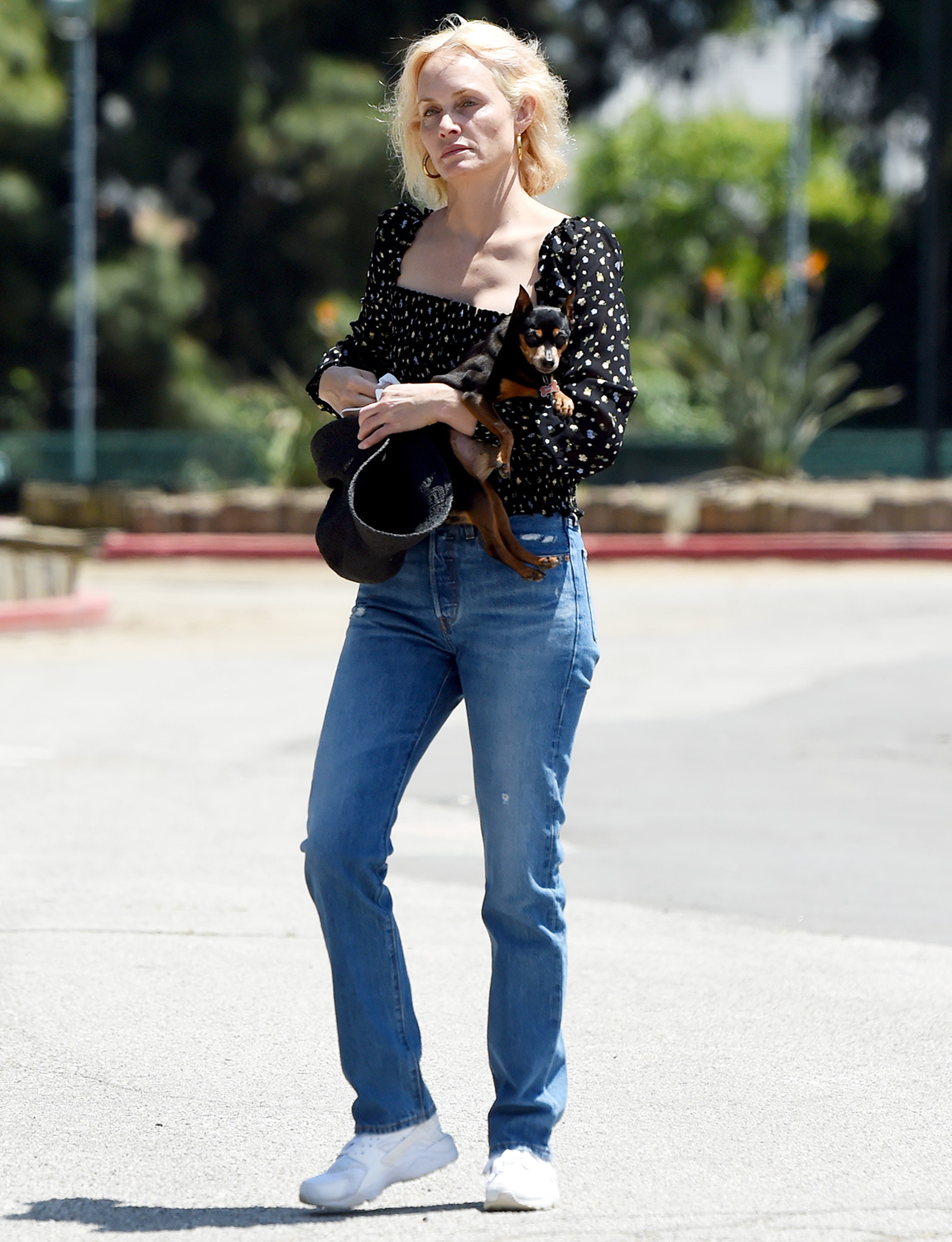 Amber Valletta and Teddy Charles are Pictured Walking Their Dogs in Los Angeles.