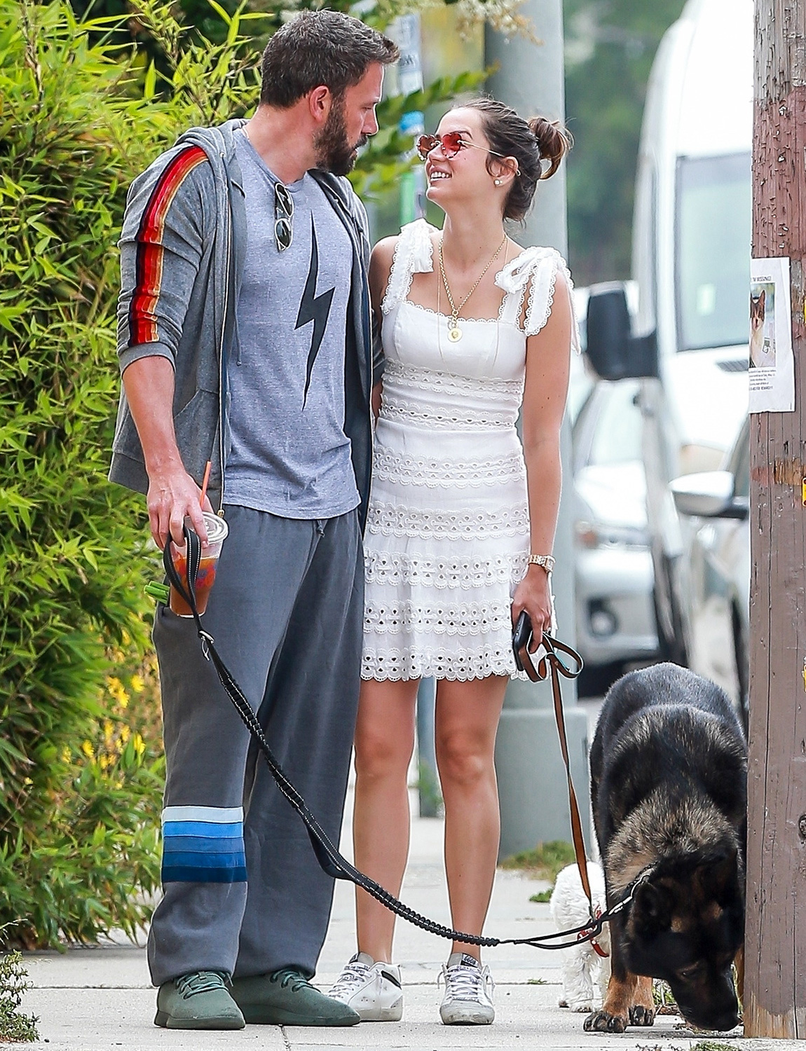 Ben Affleck and Ana de Armas take the dogs out for a walk