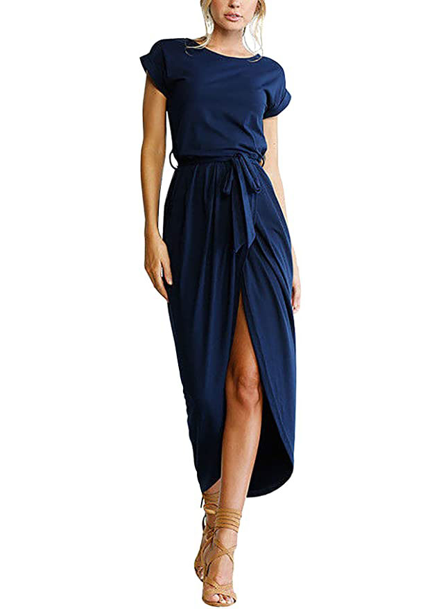 Amazon Women's Casual Short Sleeve Slit Solid Party Summer Long Maxi Dress