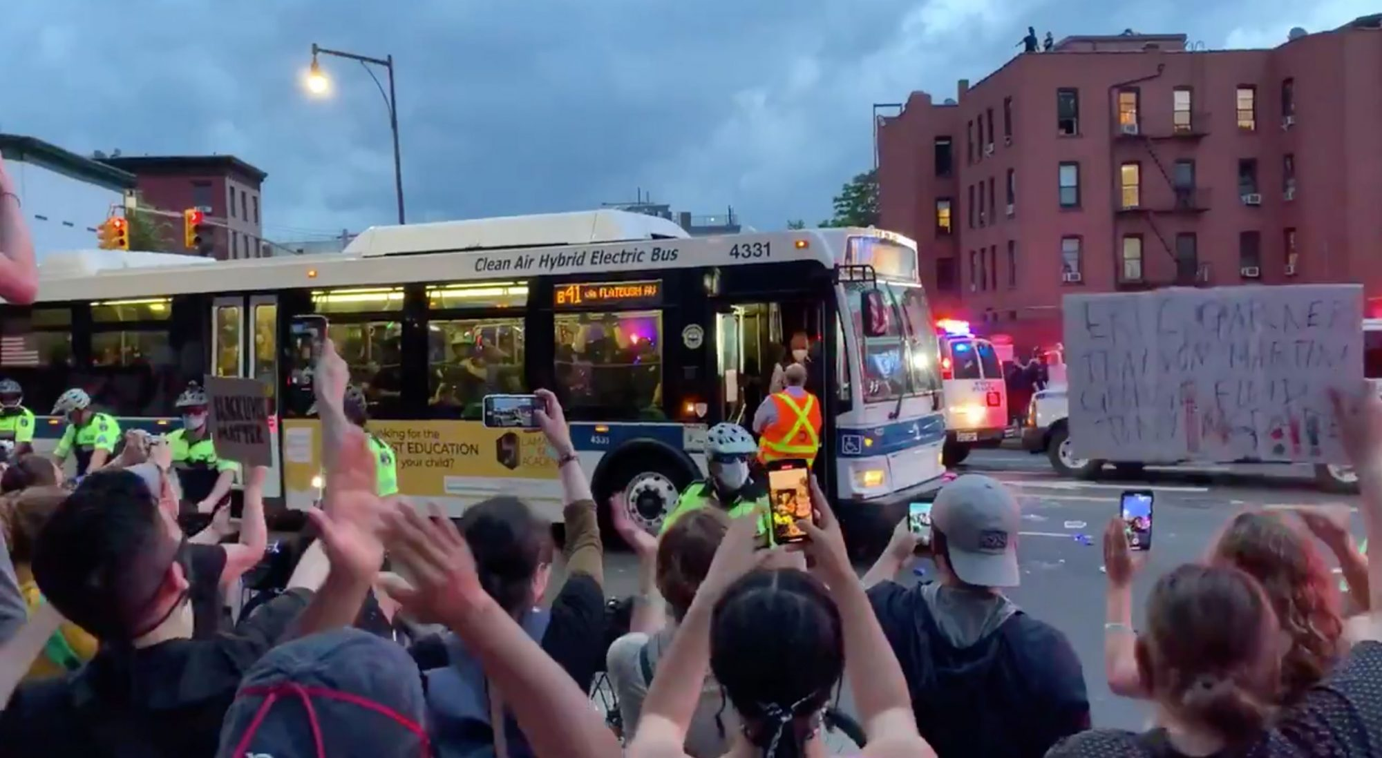 Bus driver at Brooklyn protest 5/29/2020