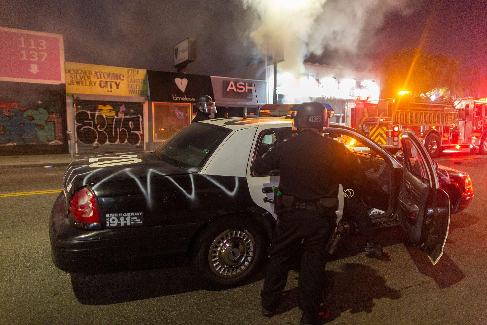 L.A. Police Car Vandalized as City 1 of Many with Curfew