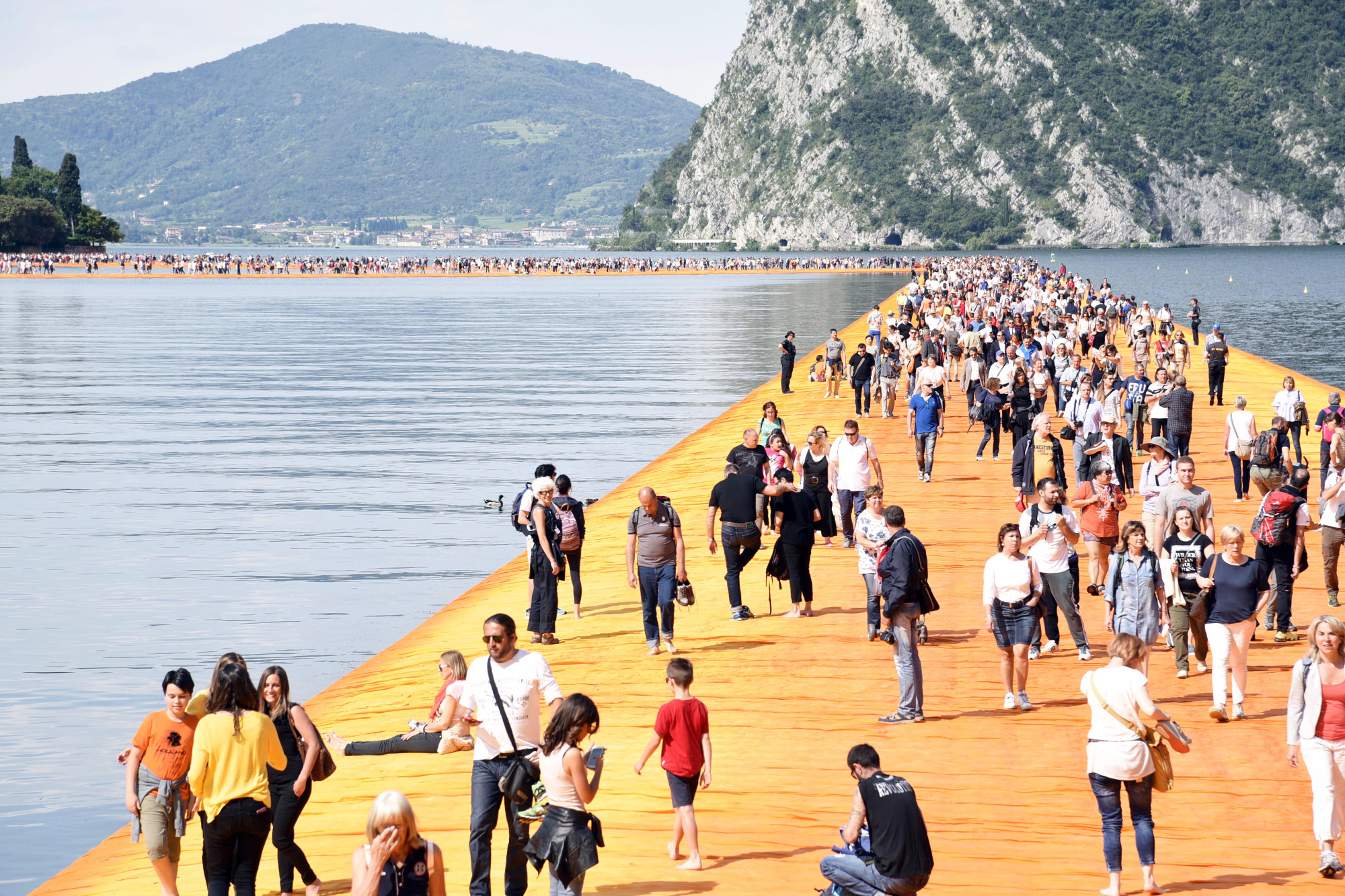 'The Floating Piers' by artist Christo on Lake Iseo, Lombardy, Italy - 18 Jun 2016