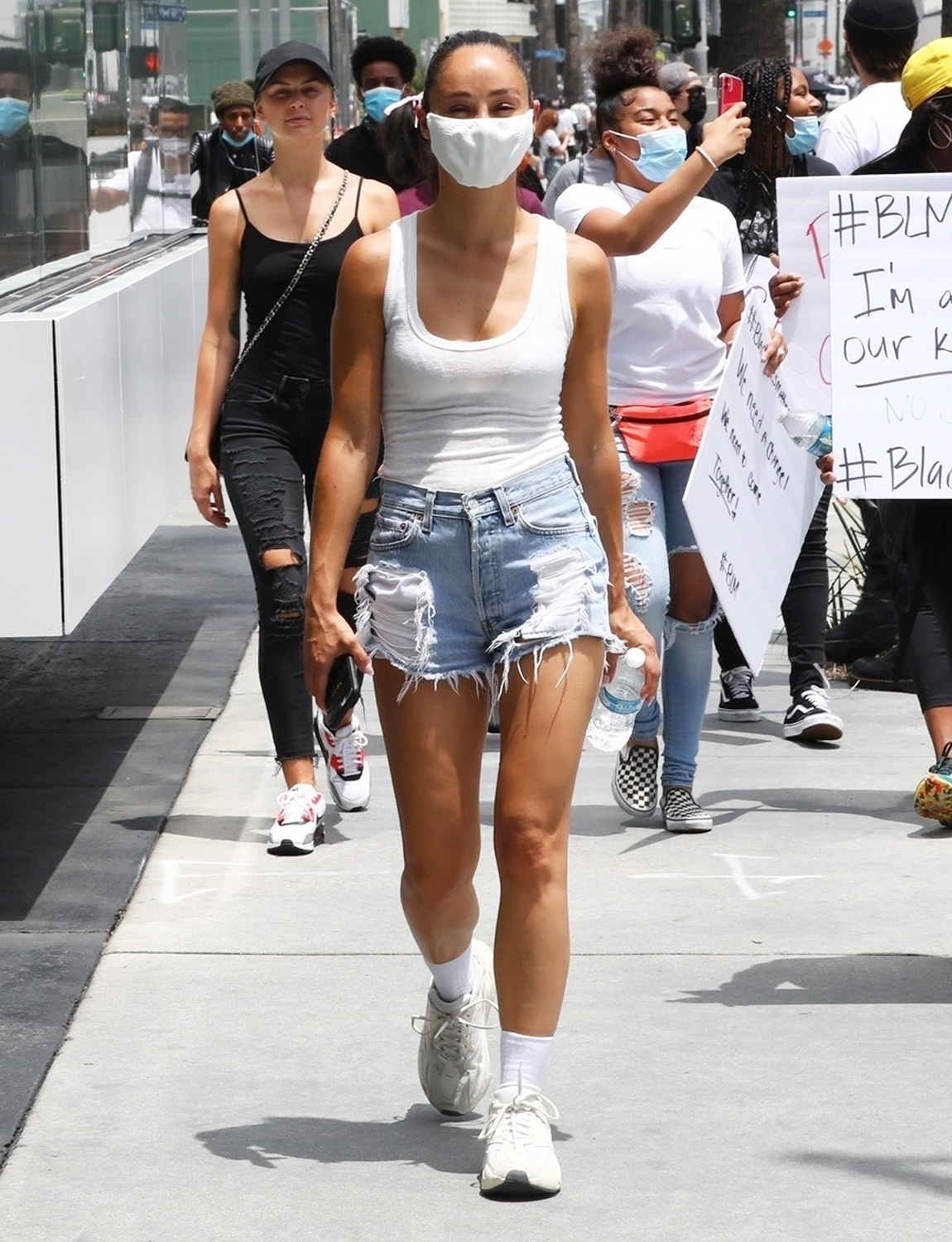Cara Santana and her friends join the continued protest today held in LA