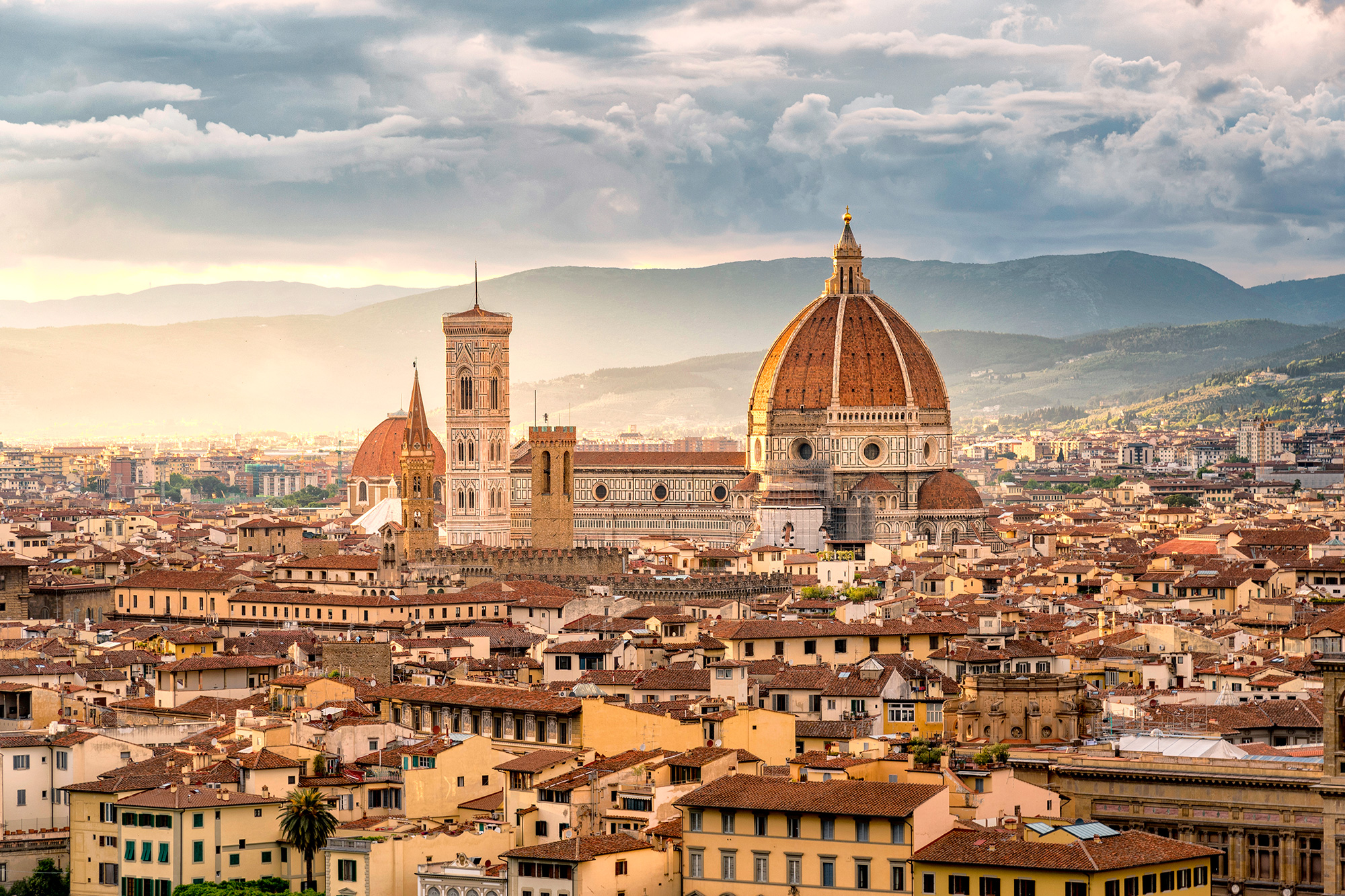 Beautiful sunset cityscape view of the Santa maria nouvelle Duomo and the town of Florence Italy