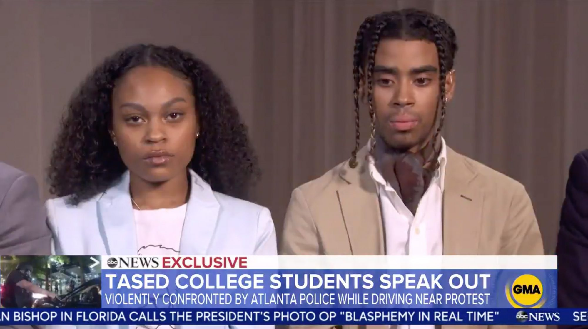 College students Taniyah Pilgrim and Messiah Young speak out after graphic video shows Atlanta police using stun guns and dragging them from their car during protest