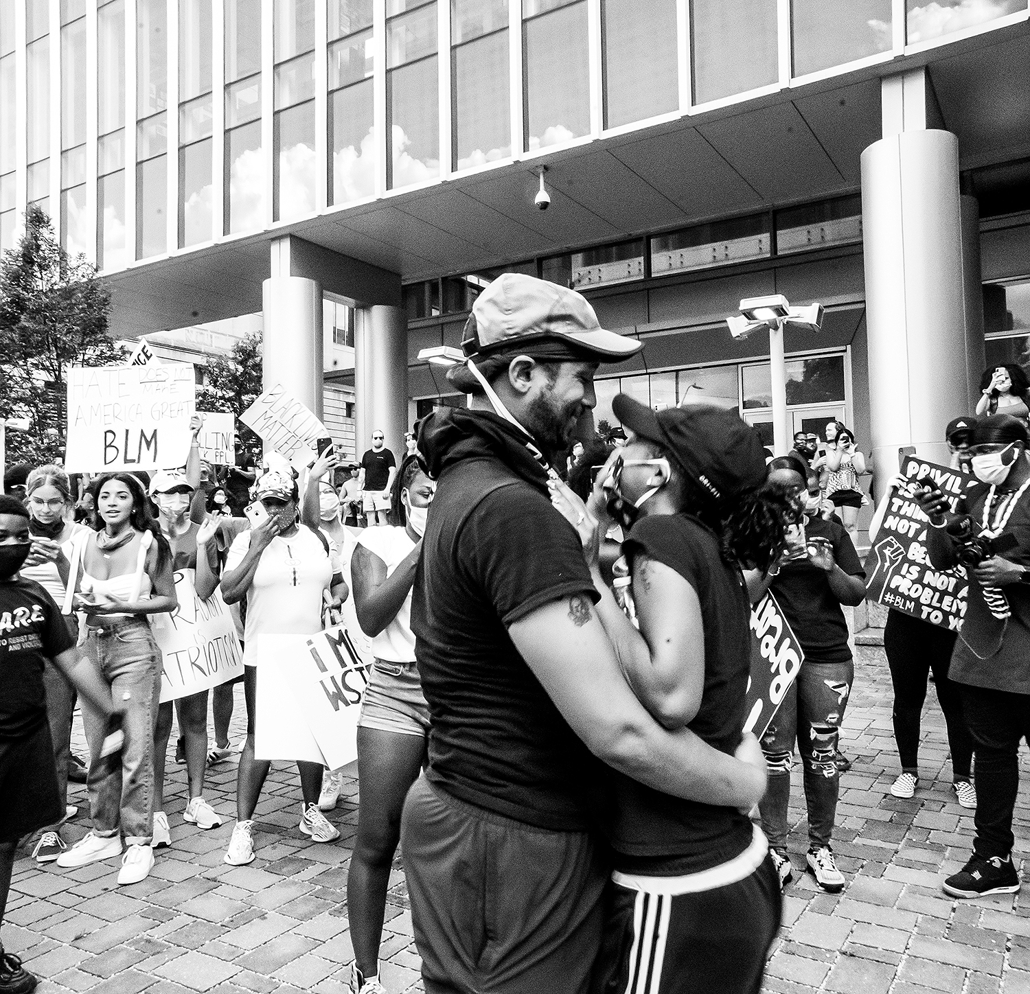 couple engaged at protest