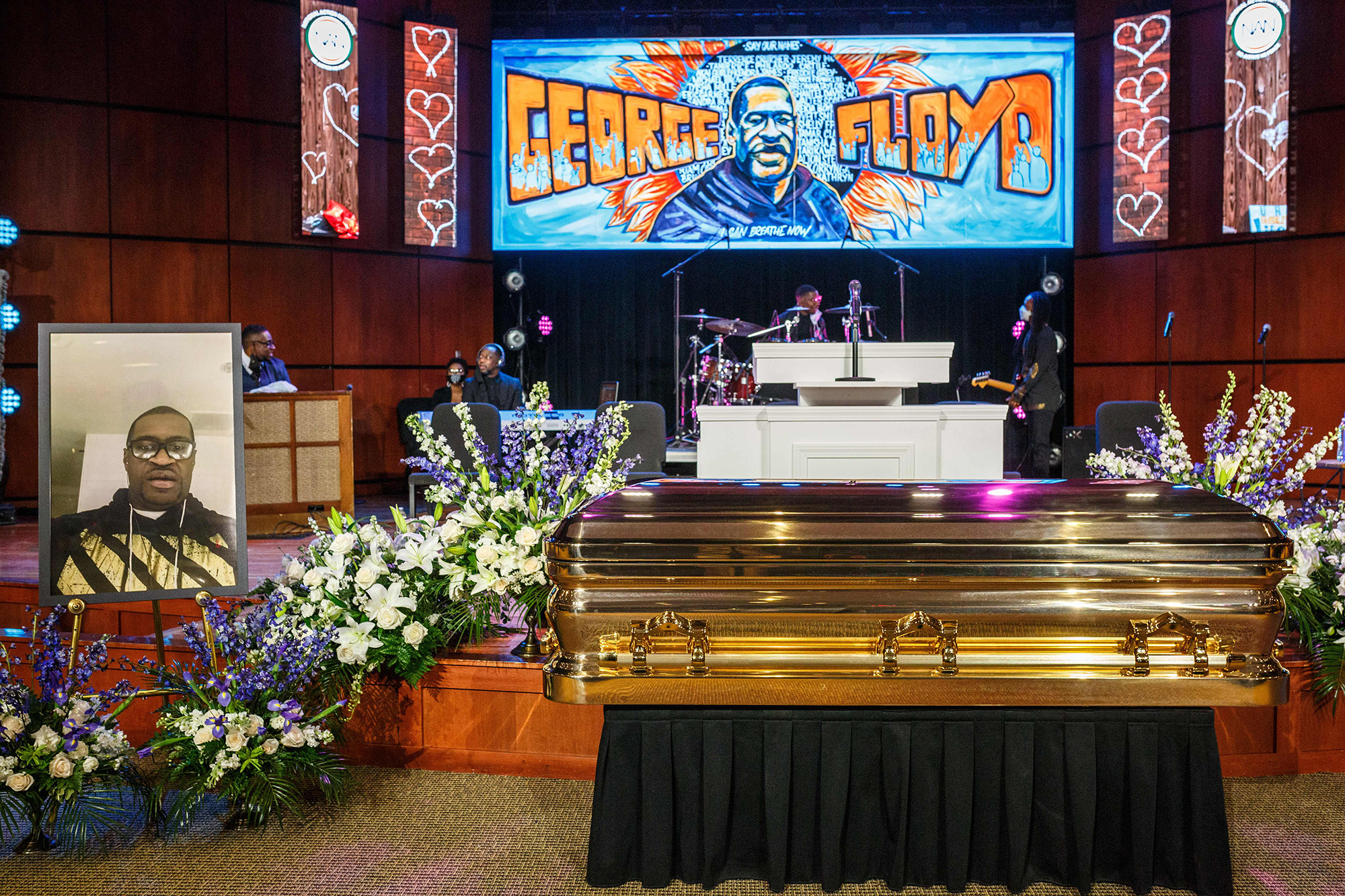 The remains of George Floyd await a memorial service in his honor on June 4, 2020