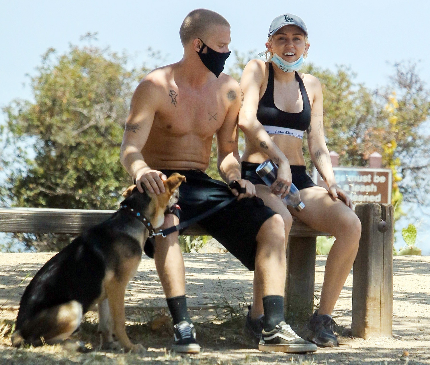 Miley Cyrus and Cody Simpson go hiking with their dog in LA