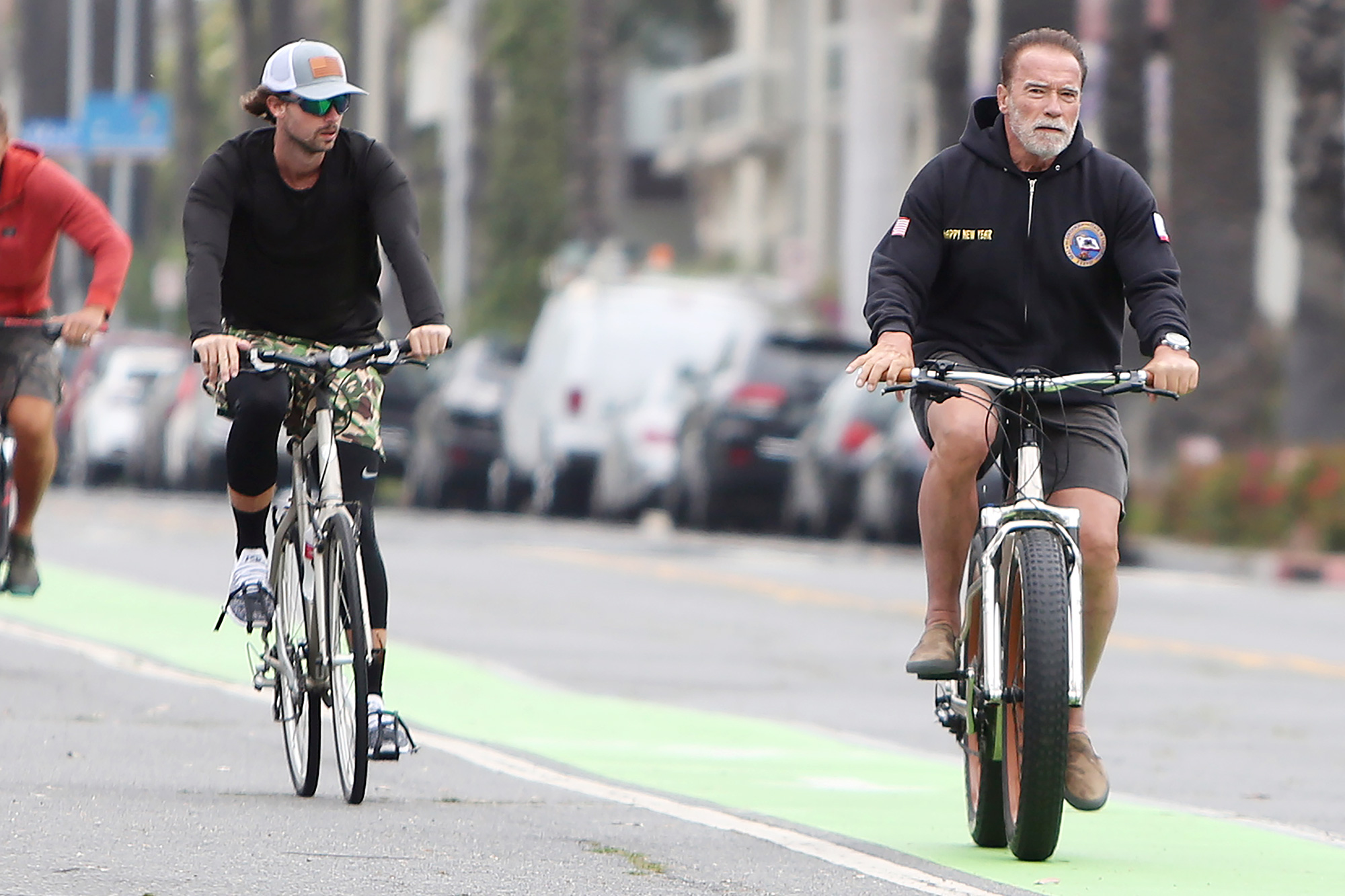 Arnold Schwarzenegger and Patrick Schwarzenegger out and about, Santa Monica, Los Angeles, California