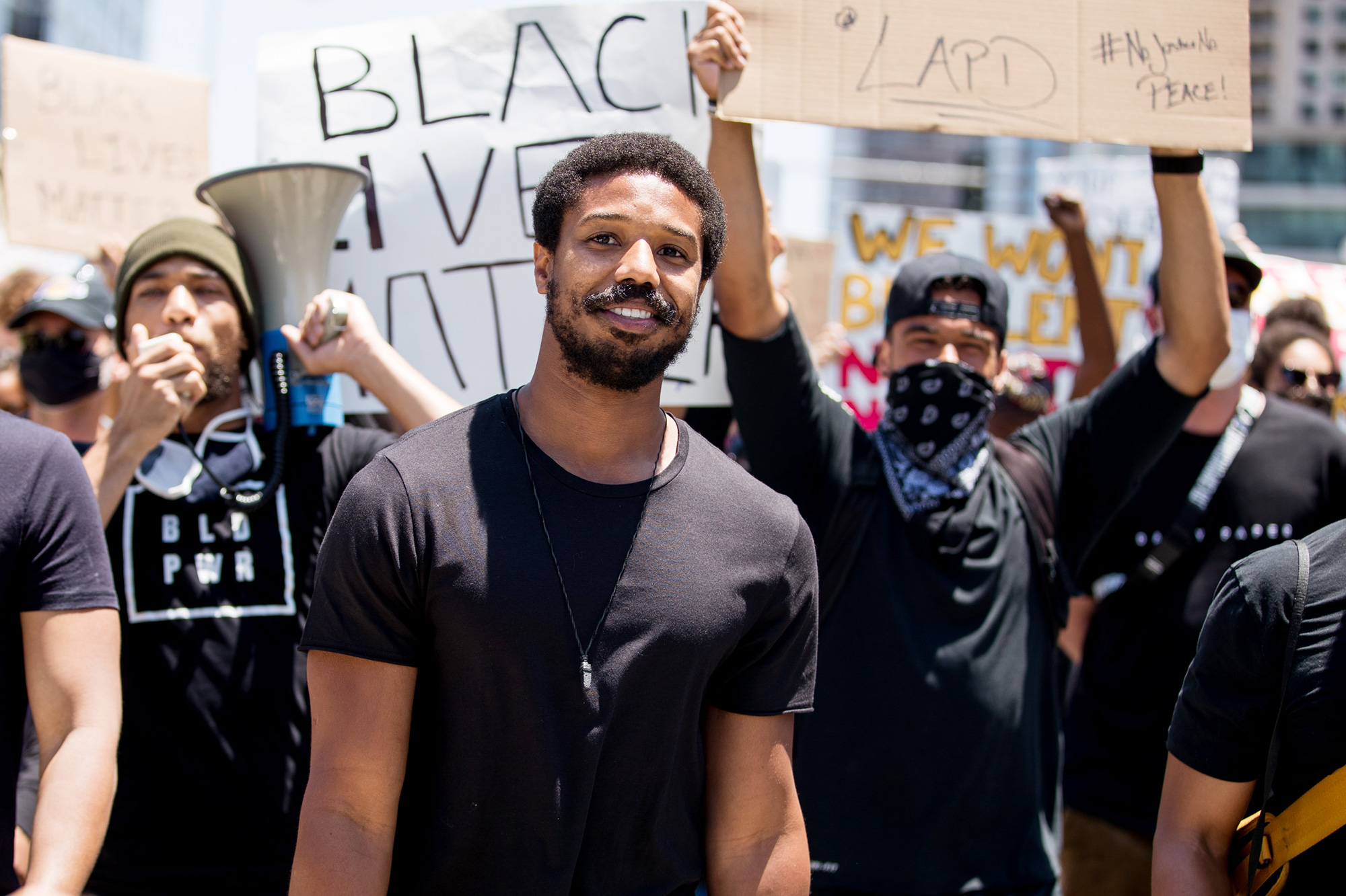 Michael B. Jordan participates in the Hollywood talent agencies march to support Black Lives Matter protests on June 06, 2020 in Beverly Hills