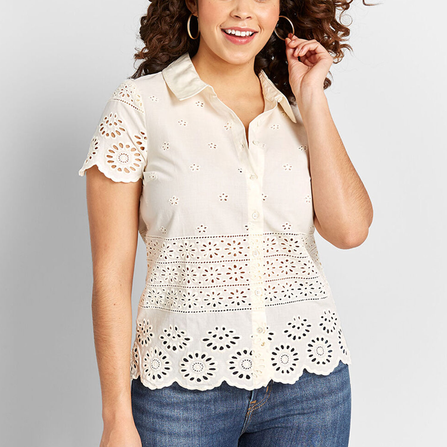 Eyelet Success Button-Up Top By ModCloth