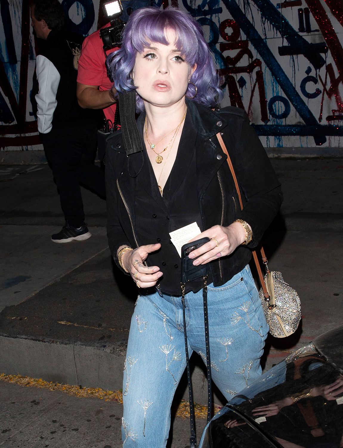Kelly Osbourne looks fresh with her bright purple hair while leaving 'Craigs' Restaurant in West Hollywood, CA