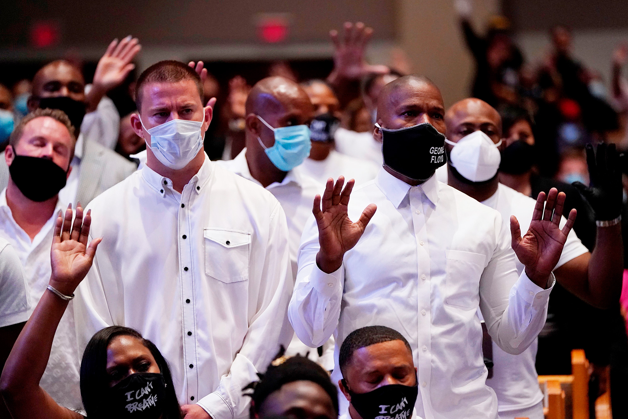 Channing Tatum (L) and Jamie Foxx (R) take part in the funeral of George Floyd on June 9, 2020, at The Fountain of Praise church in Houston, Texas