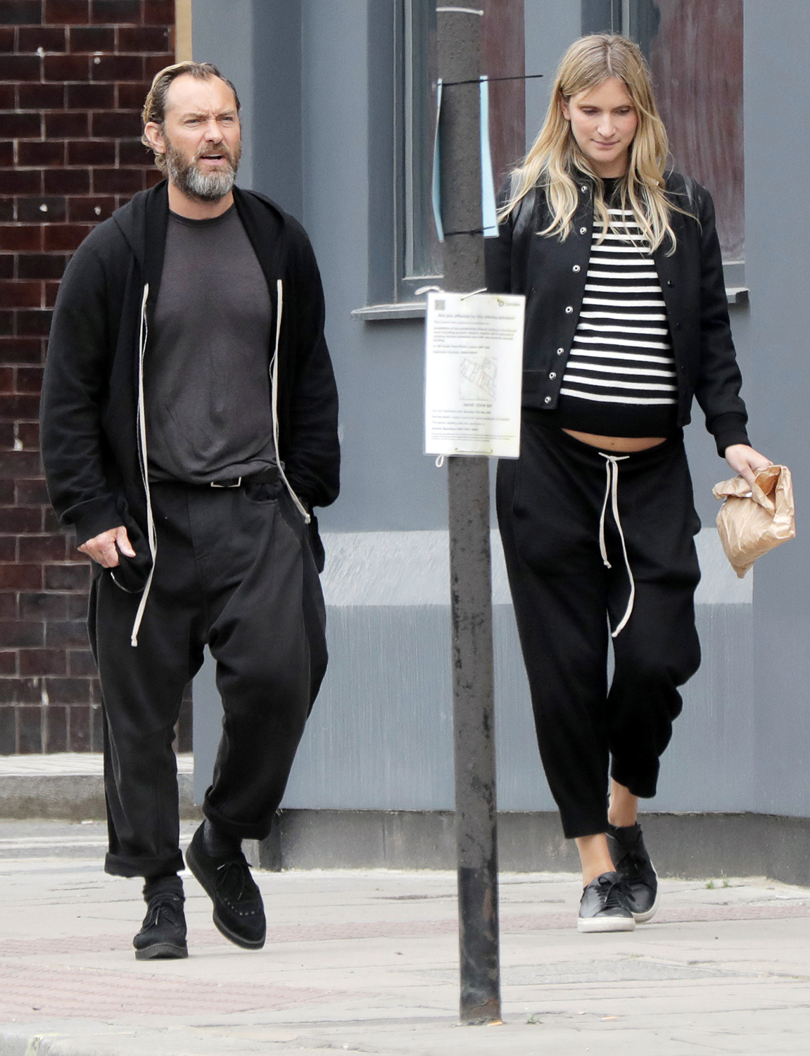 Jude Law and wife Phillipa Coan seen walking around Camden Town after a visit to The Salvation Army (Chalk Farm) on June 09, 2020 in London, England