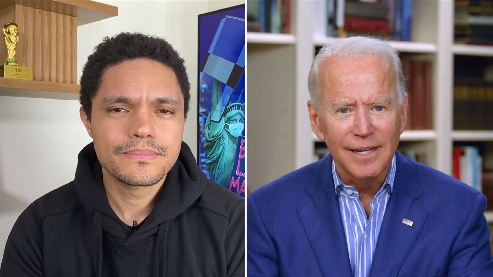 Trevor Noah and Joe Biden