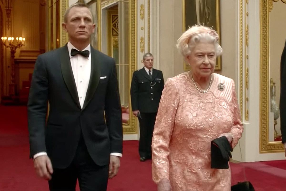 Queen Elizabeth and Daniel Craig in the opening sketch from the London Olympics in 2012.