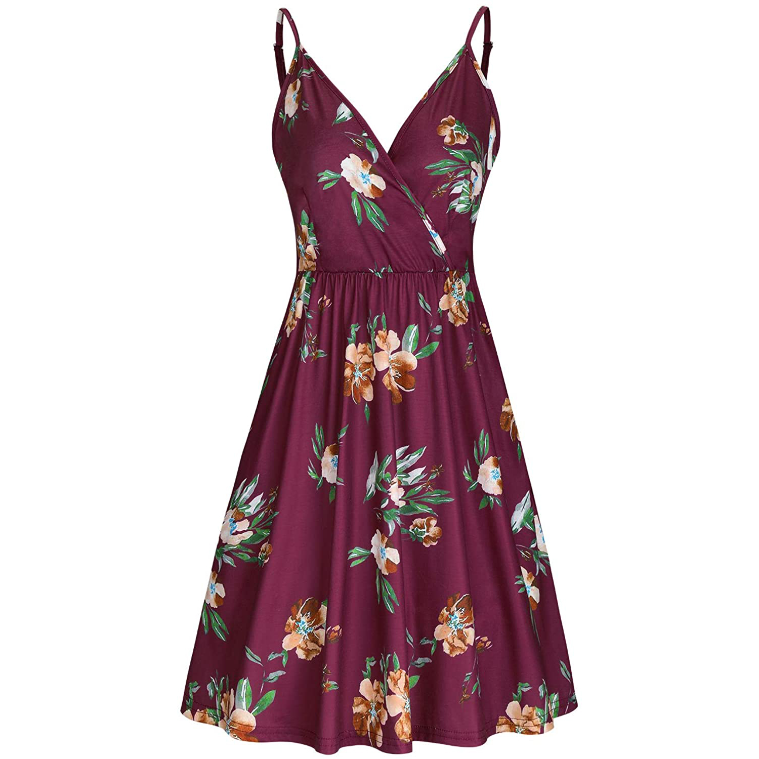 V Neck Floral Spaghetti Strap Summer Casual Swing Dress with Pocket