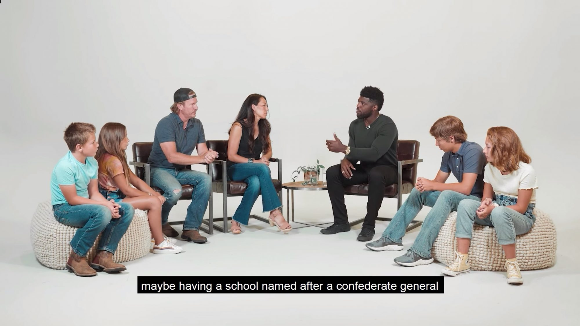 "Chip & Joanna Gaines sit down with Emmanuel Acho to have an uncomfortable conversation about teaching their kids to ""see color"" and Emmanuel Acho is asked, ""if he's afraid of white people."""