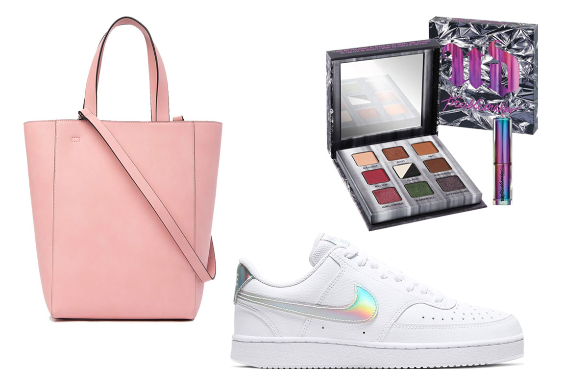 nordstrom rack sale nike sneakers tote bag urban decay makeup palette