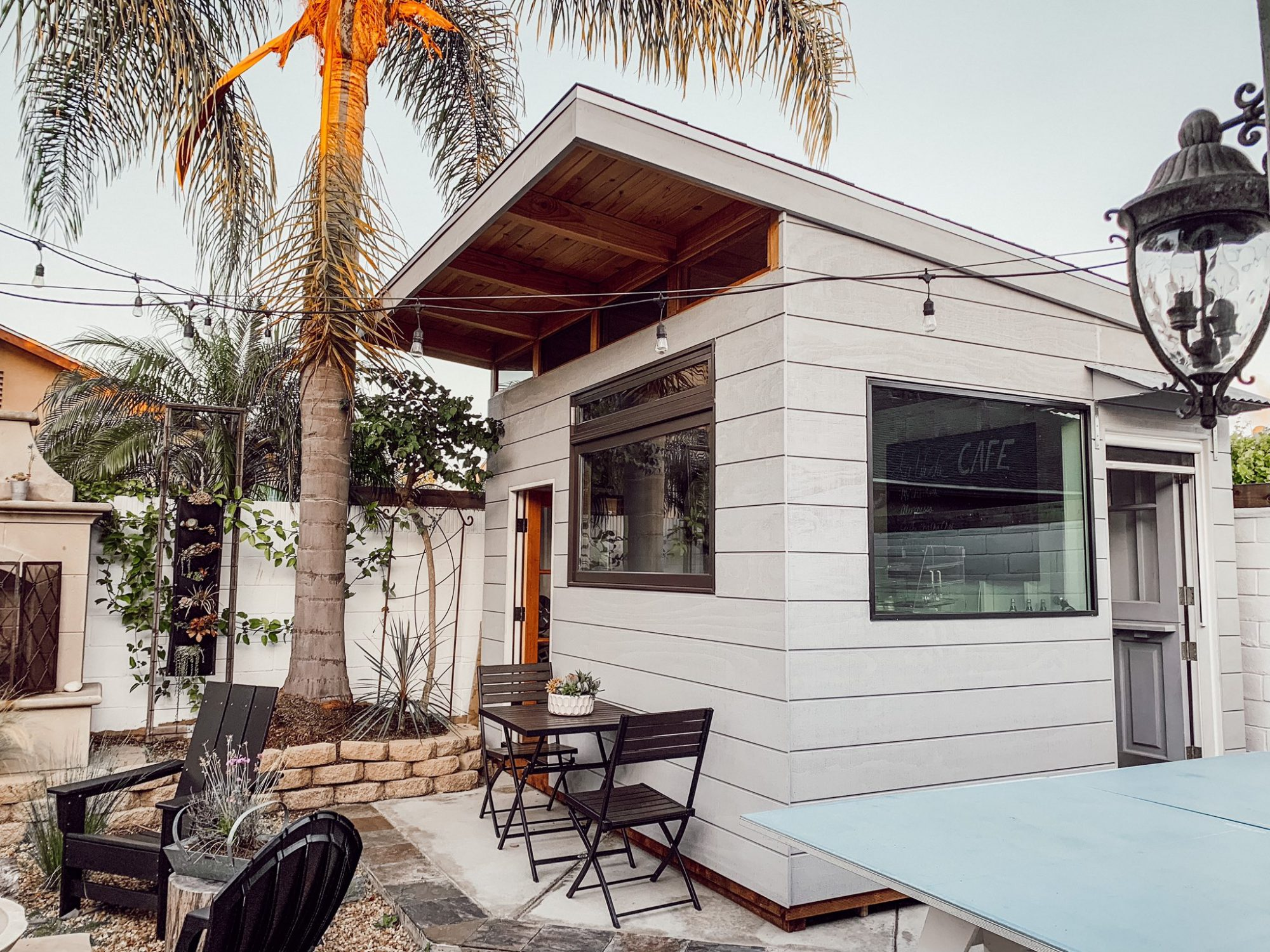 dad builds coffee shop in backyard