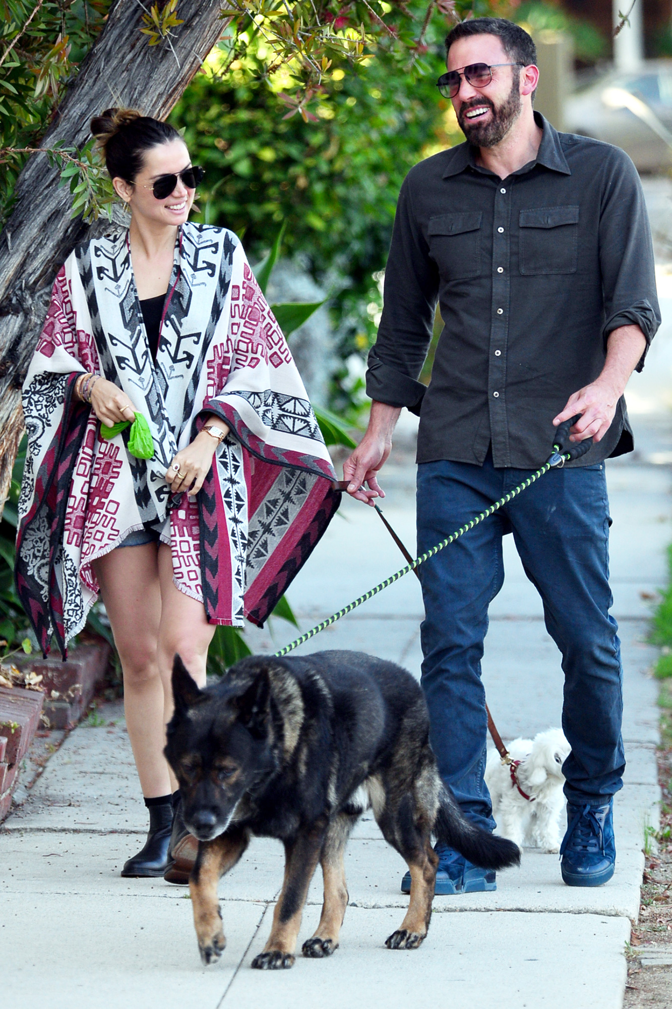 Ben Affleck lets Ana De Armas handle the dog poop duties as they are spotted out and about