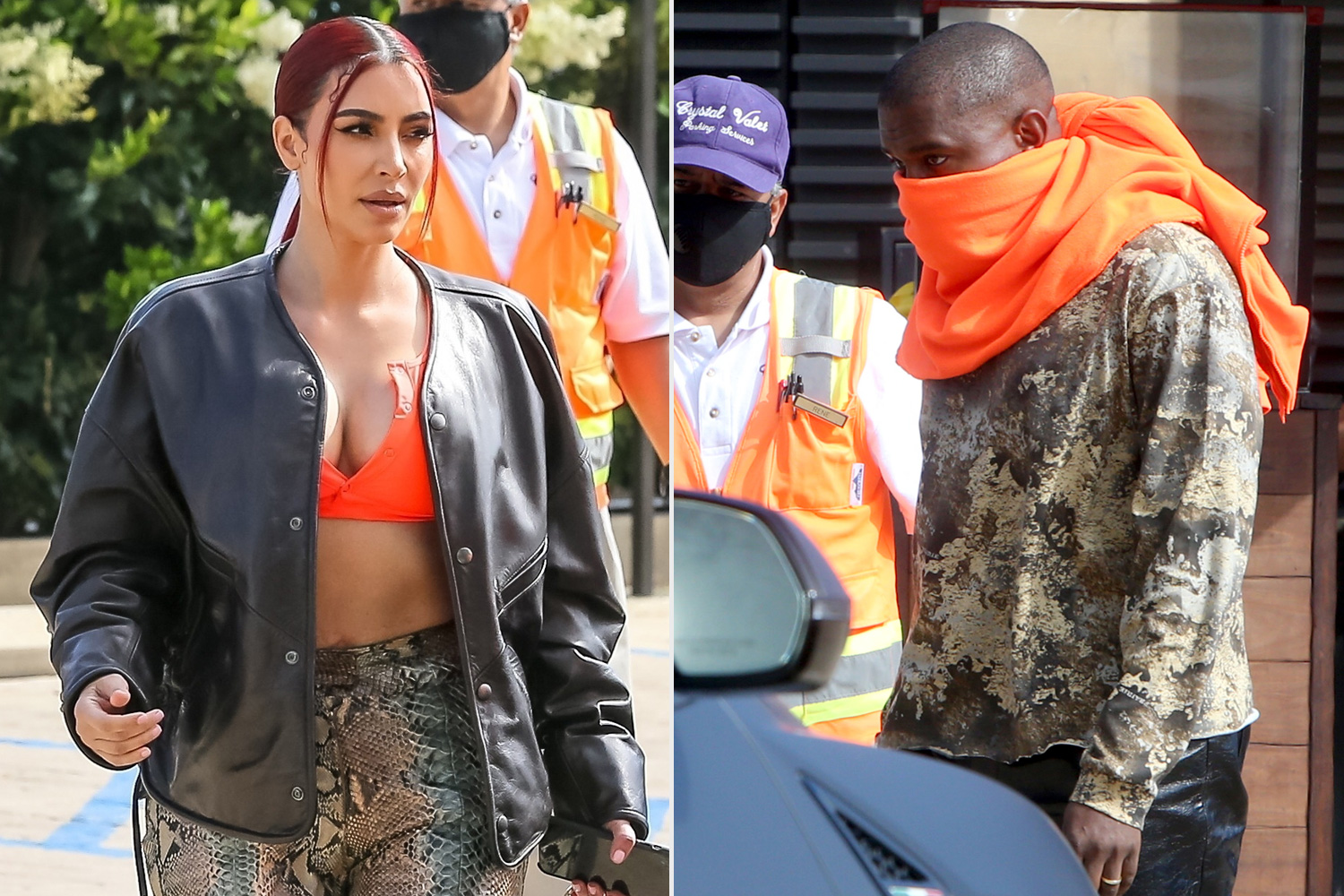 Kim Kardashian West Shows Off Her New Red Hair As She And Kanye West Dine At Nobu In Malibu.