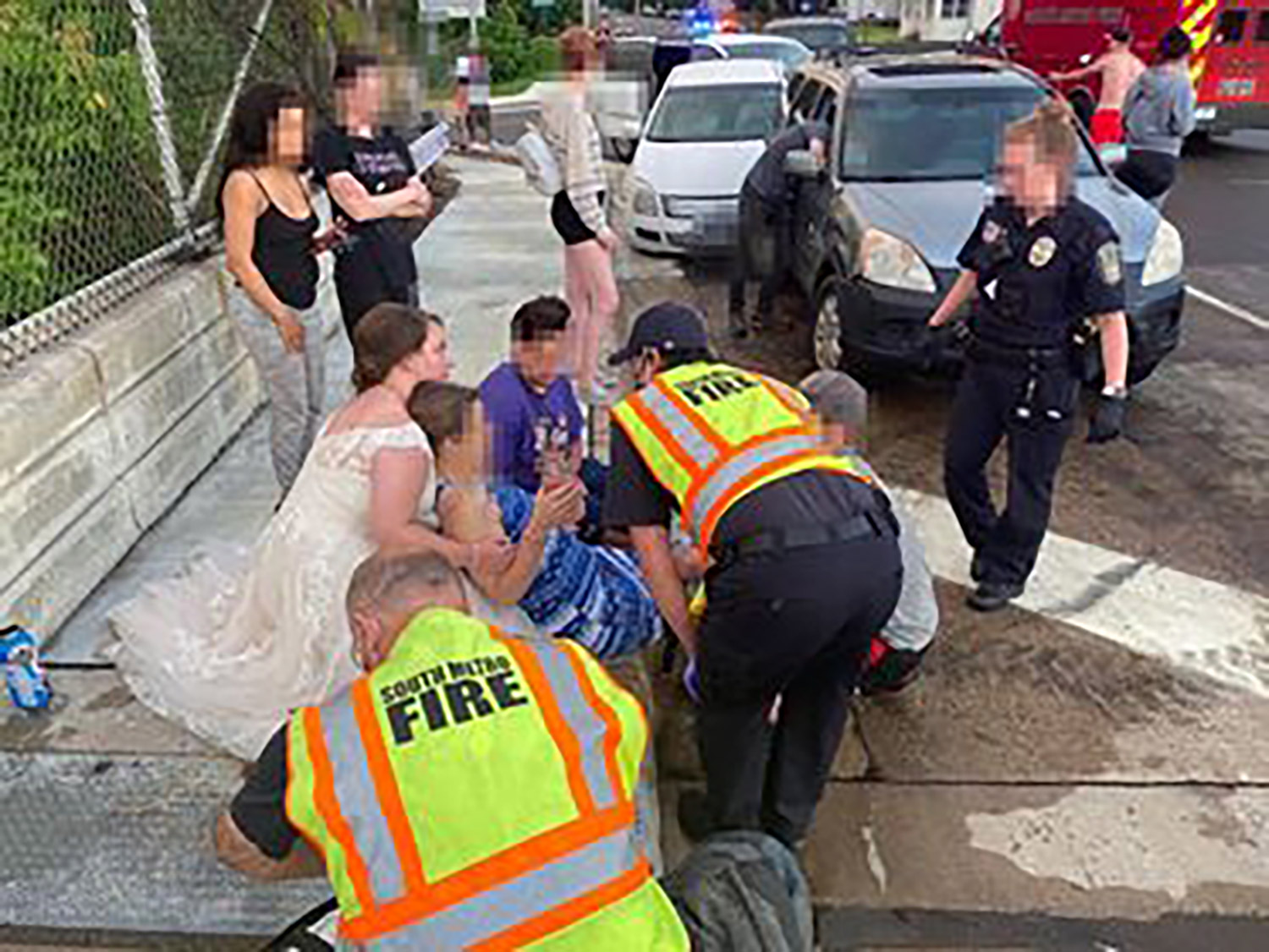 bride helps crash victim