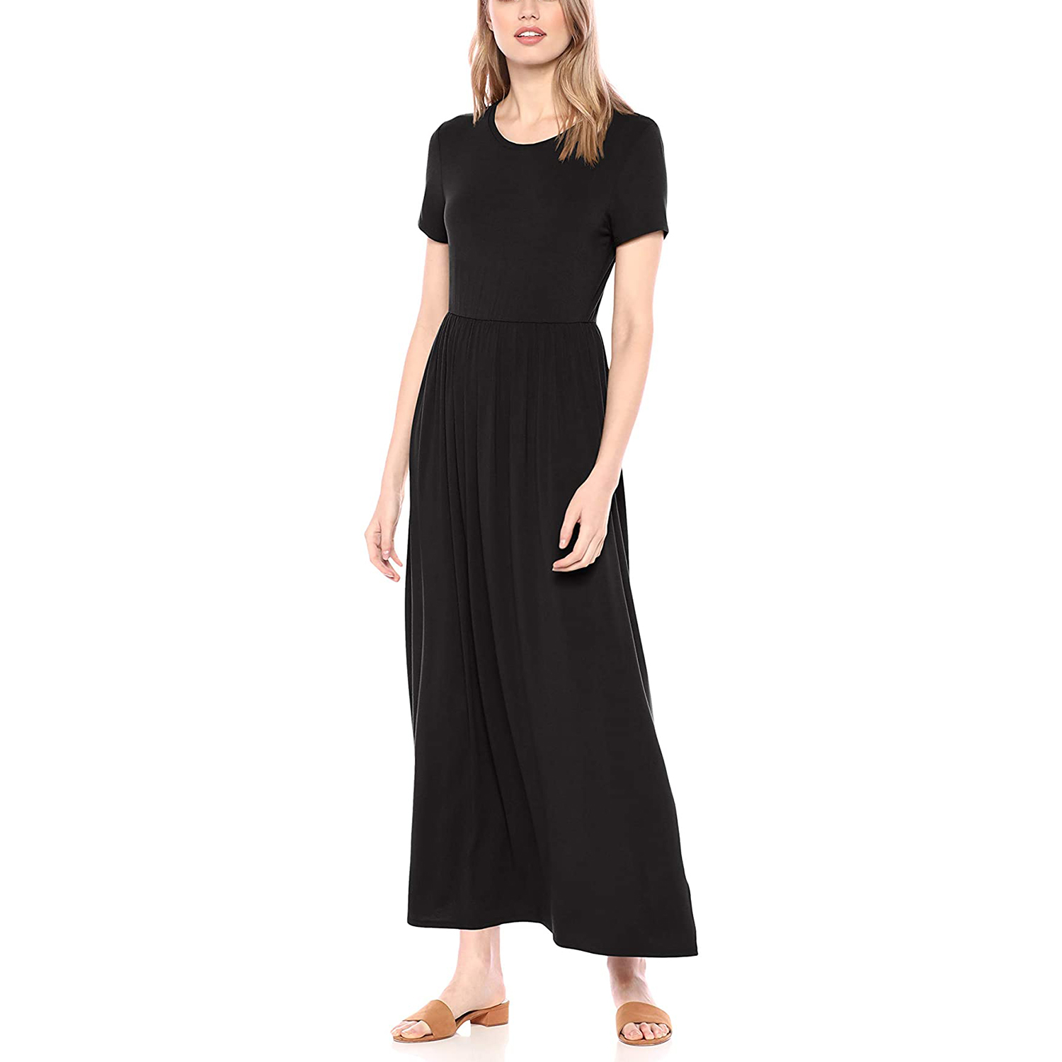 Amazon Essentials Women's Short Sleeve Waisted Maxi Dress
