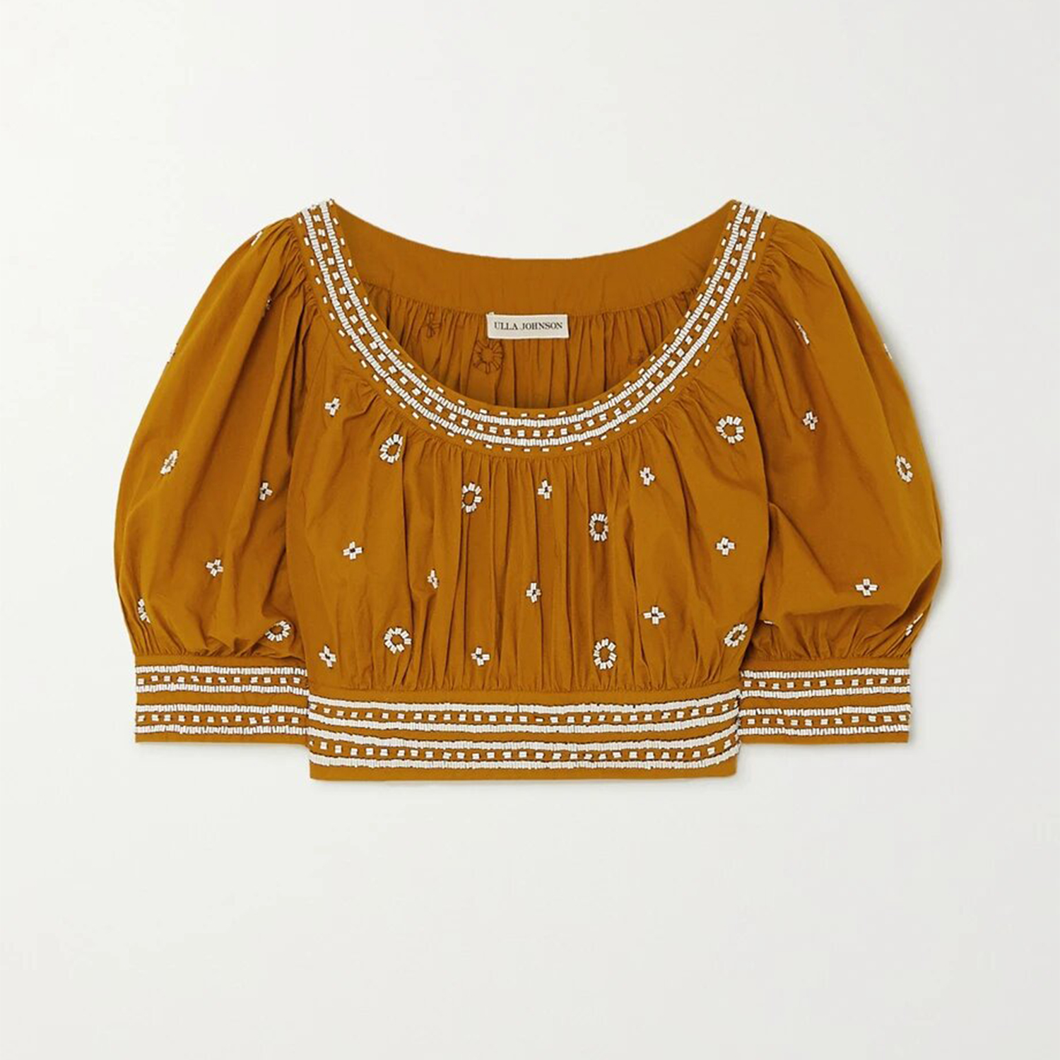 Zola cropped bead-embellished cotton top
