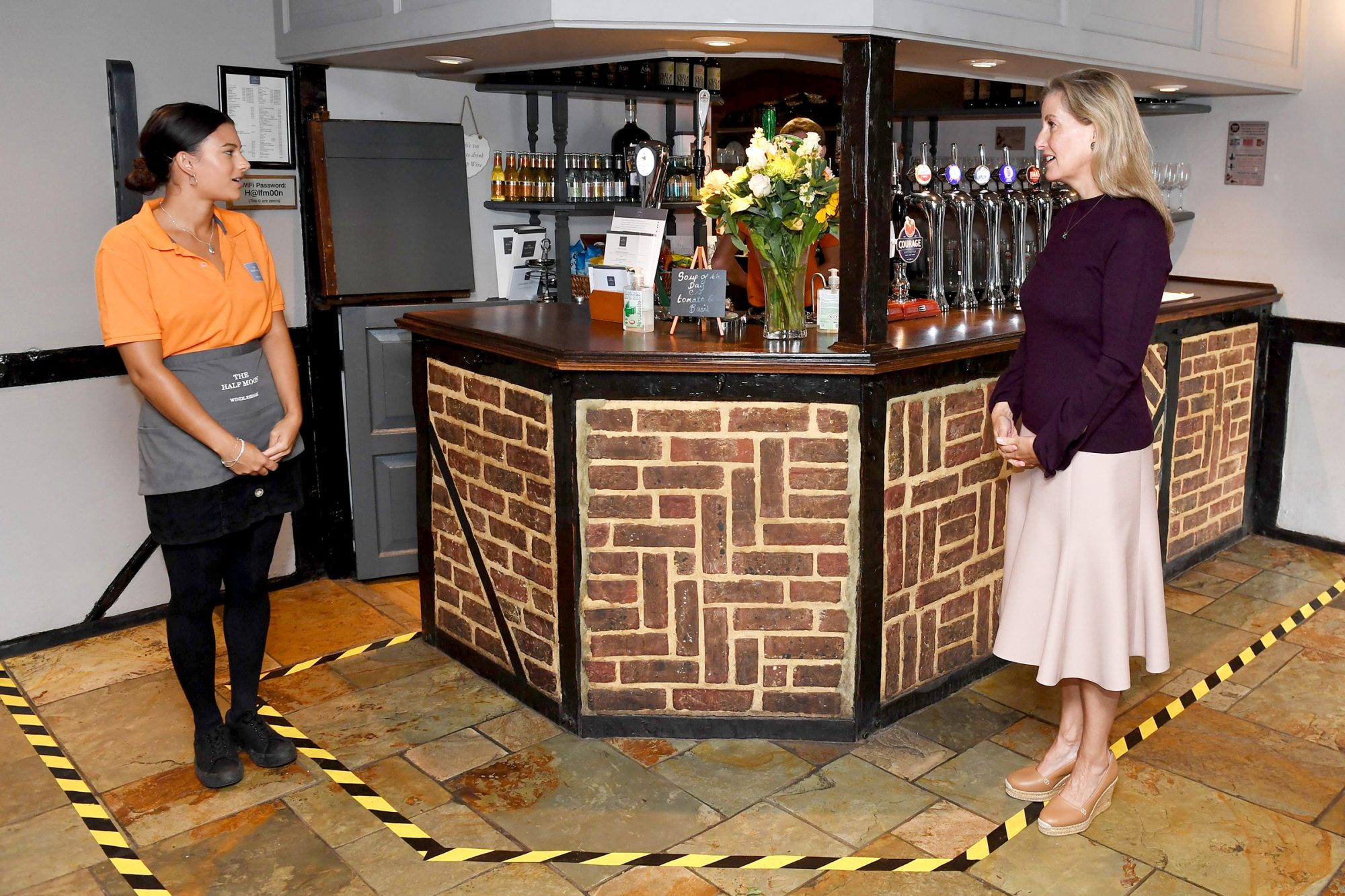 Sophie The Countess Of Wessex Visits The Half Moon Public House In Windlesham