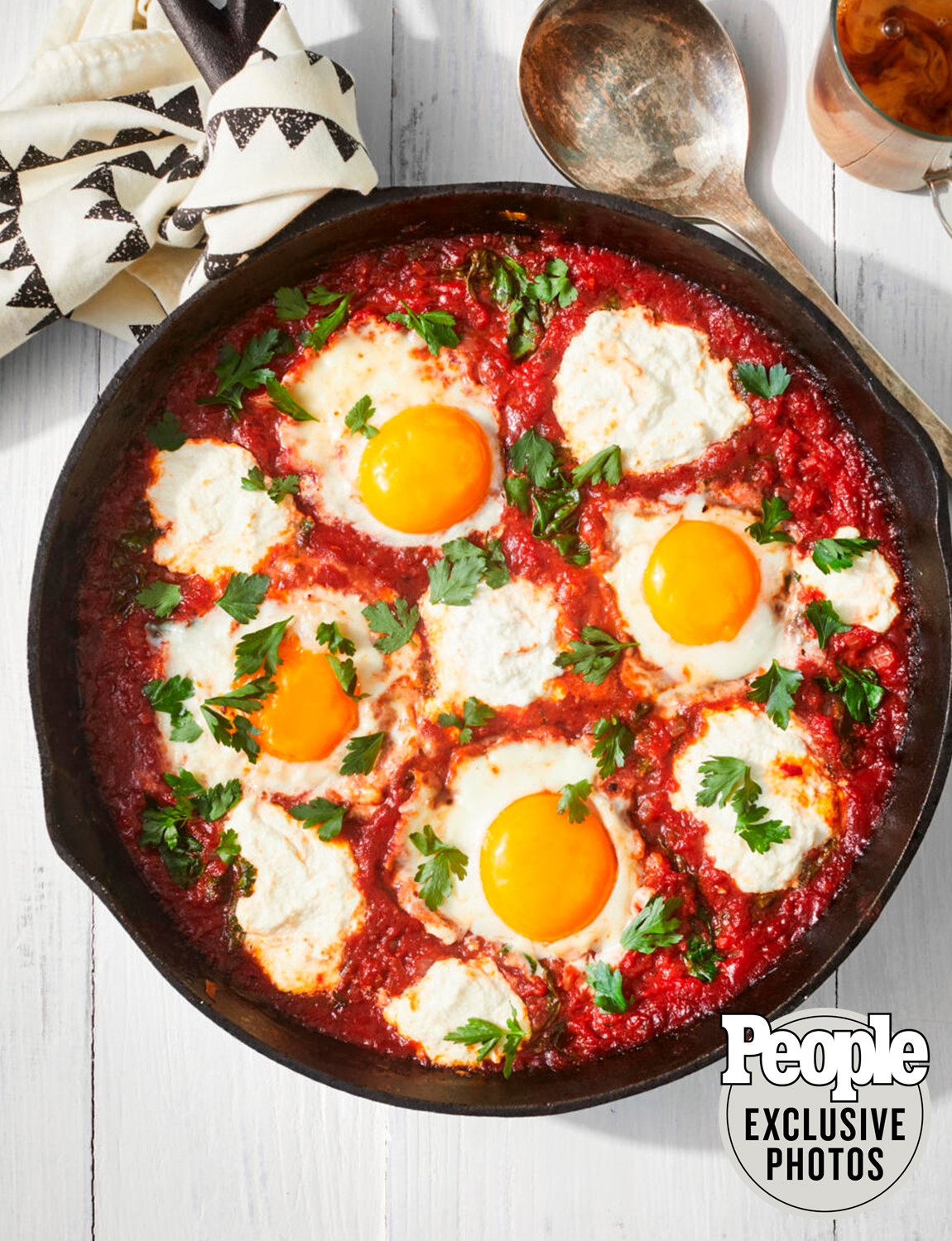 Baked Eggs in Tomato Sauce with Ricotta & Spinach