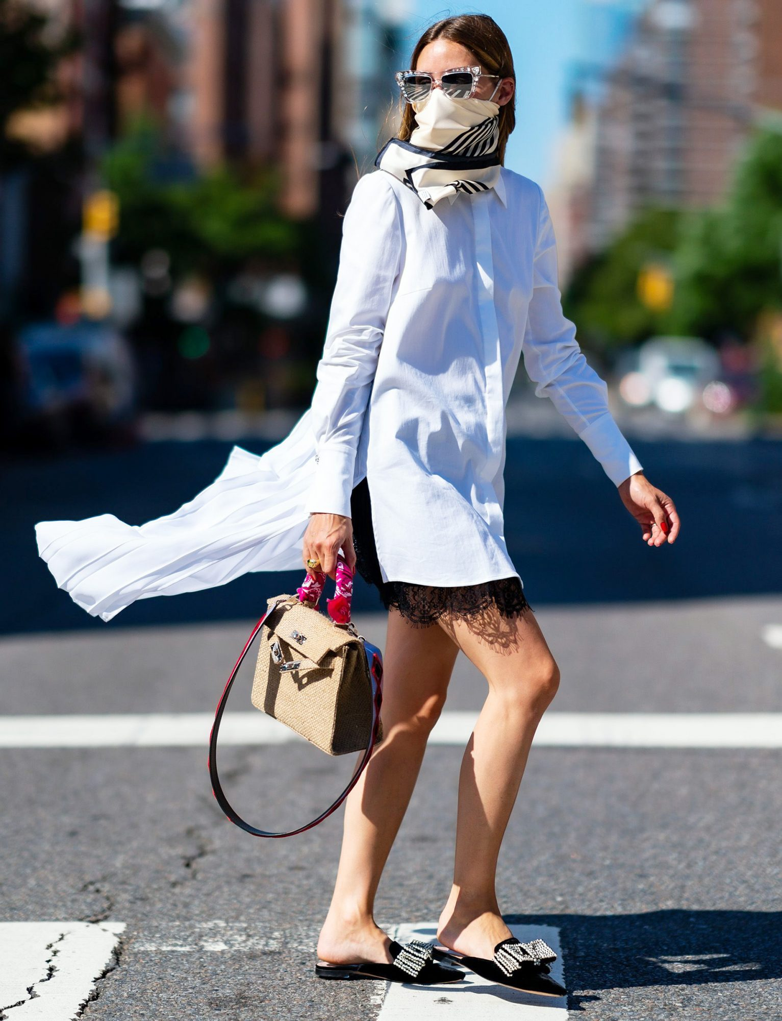 Olivia Palermo is seen in Chelsea on July 09, 2020