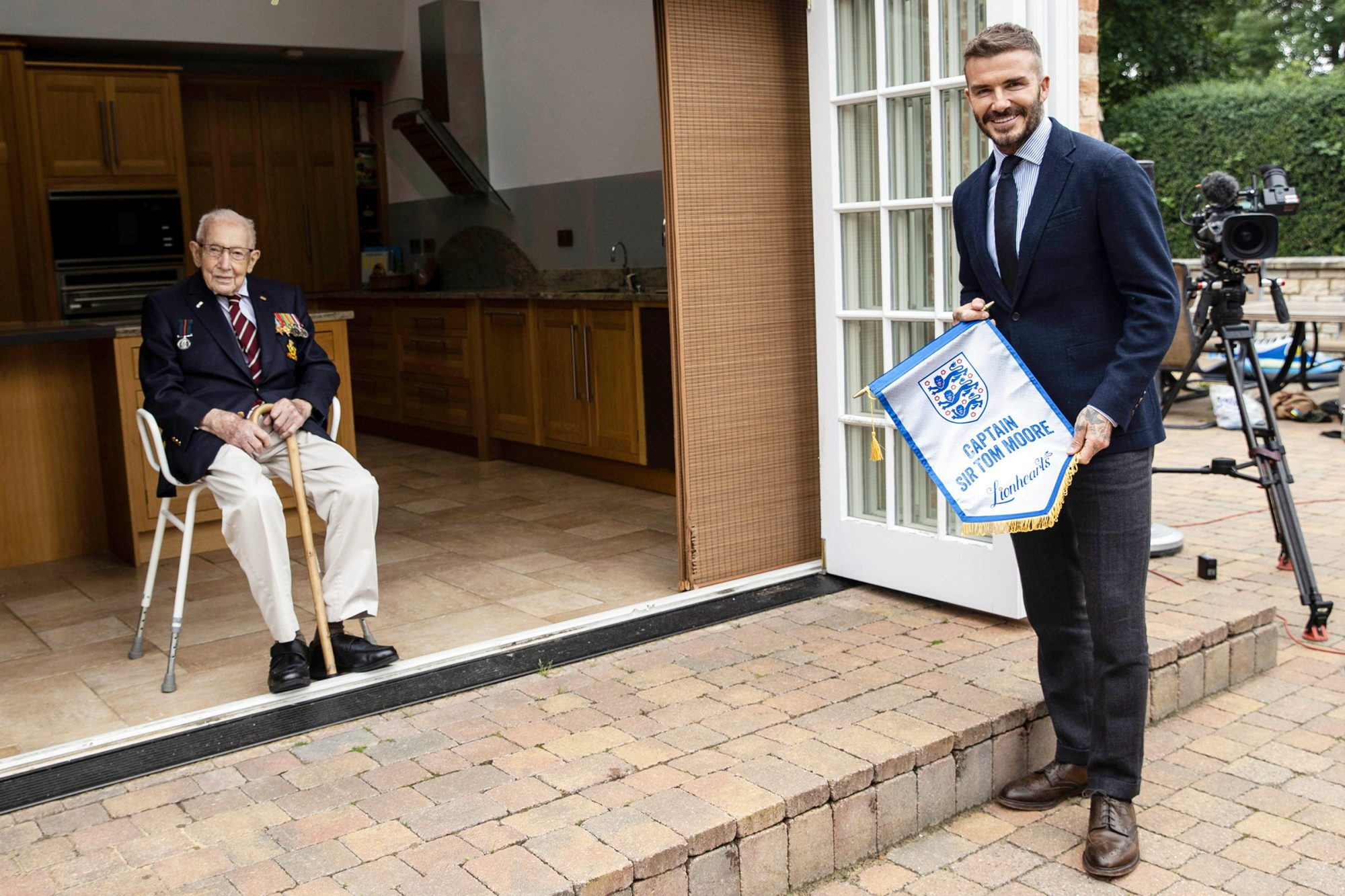 David Beckham Meets Captain Sir Tom Moore, Marston Moretaine, Bedfordshire, UK - 09 Jul 2020
