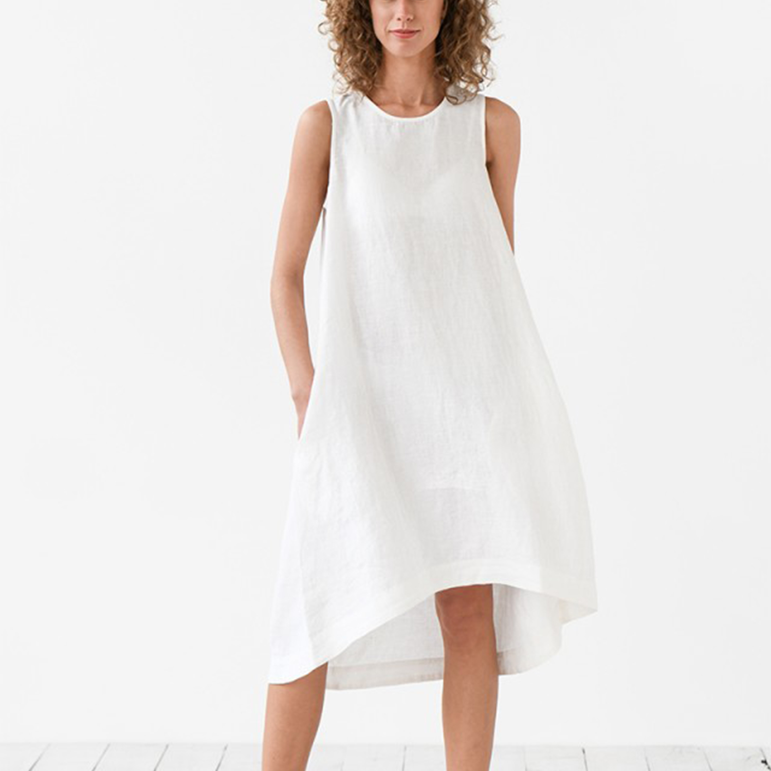 ASYMMETRIC LINEN DRESS TOSCANA