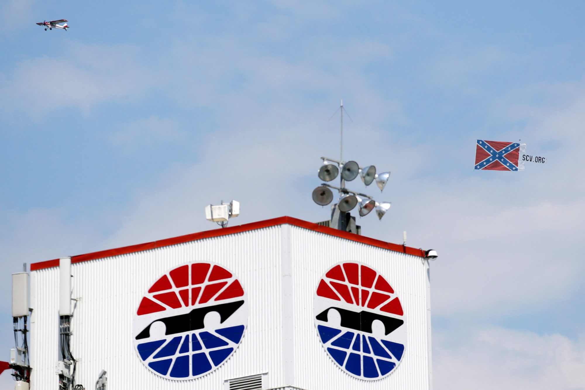 Plane pulls a Confederate battle flag over Bristol Motor Speedway before the NASCAR All-Star auto race in Bristol, Tenn