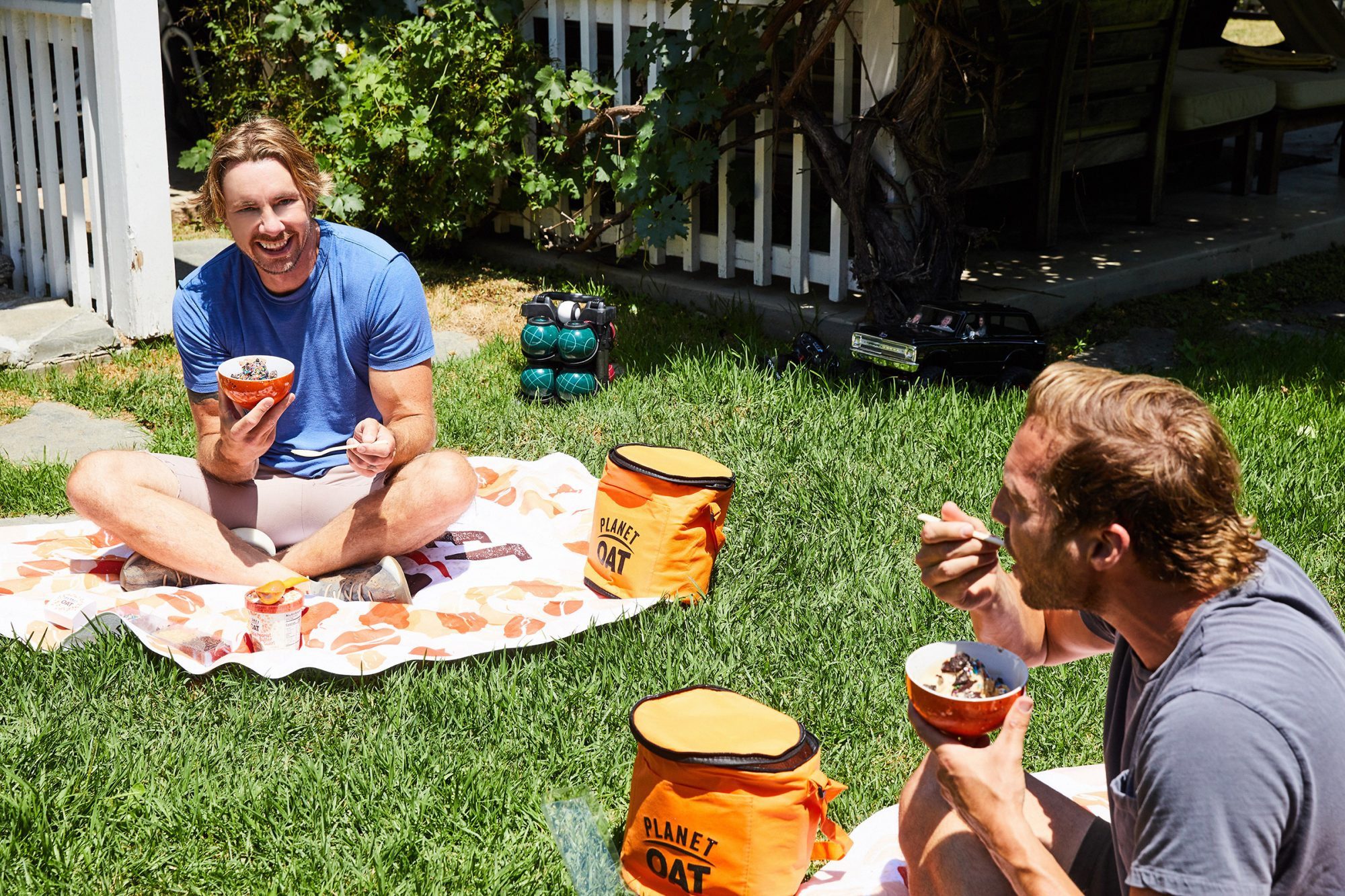 Dax Shepard and Ryan Hansen enjoy socially distanced spoonful's of Planet Oat Non-Dairy Frozen Desserts in Los Angeles, CA